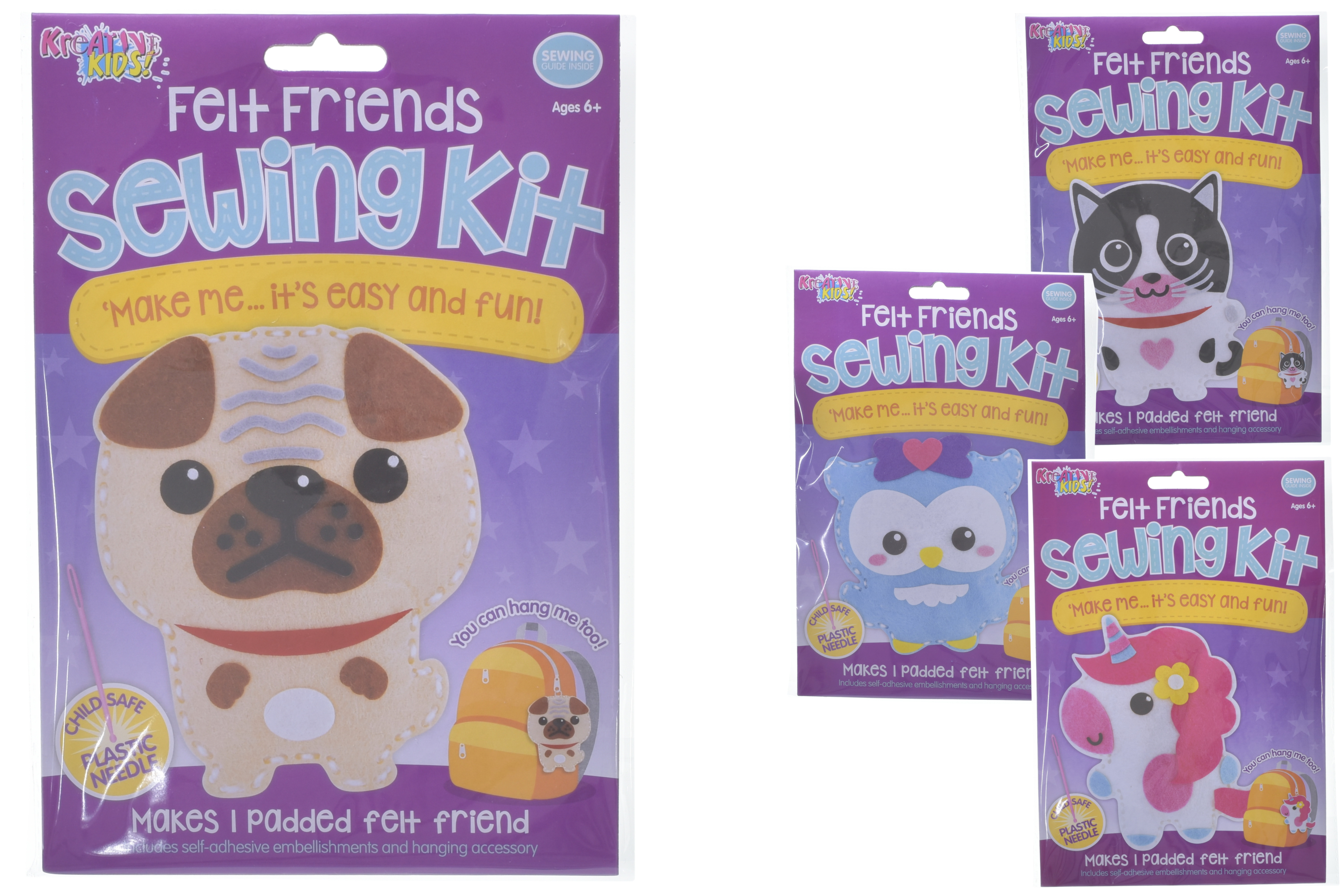 Felt Friends Sewing Kits (4 Assorted) In Hanging Bag