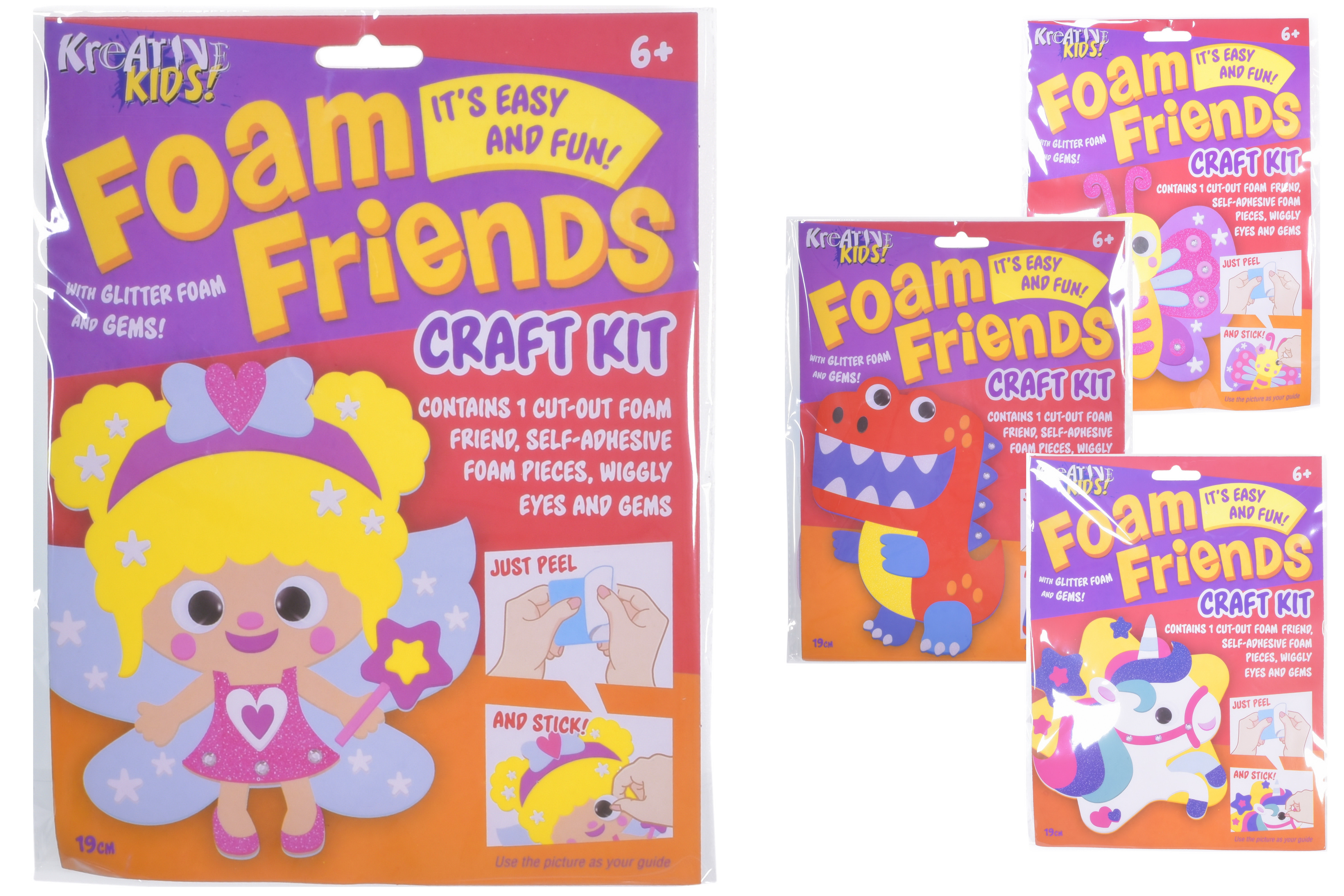 Foam Friends Craft Kits (4 Assorted) In Hanging Bag