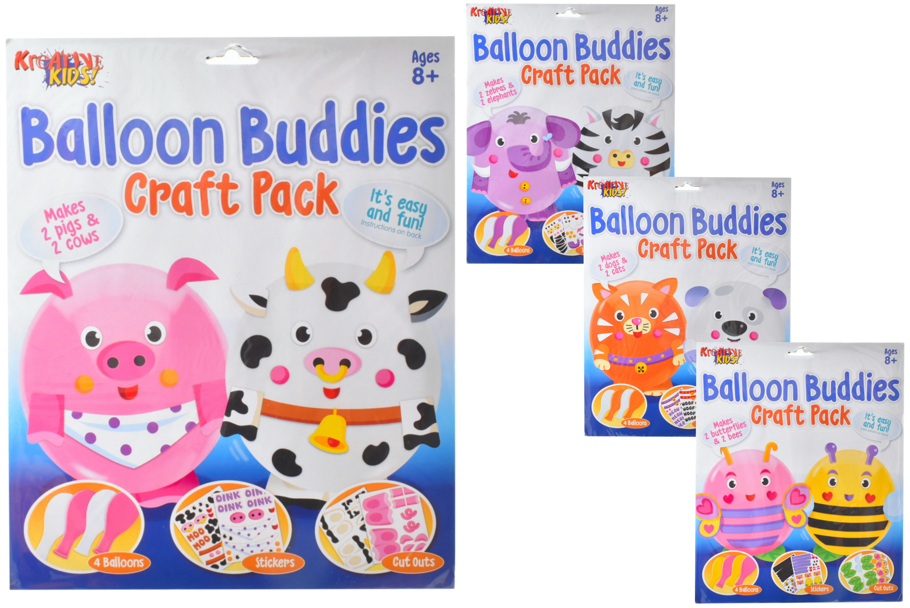 Balloon Buddies Craft Kit (4 Assorted) In Hanging Bag