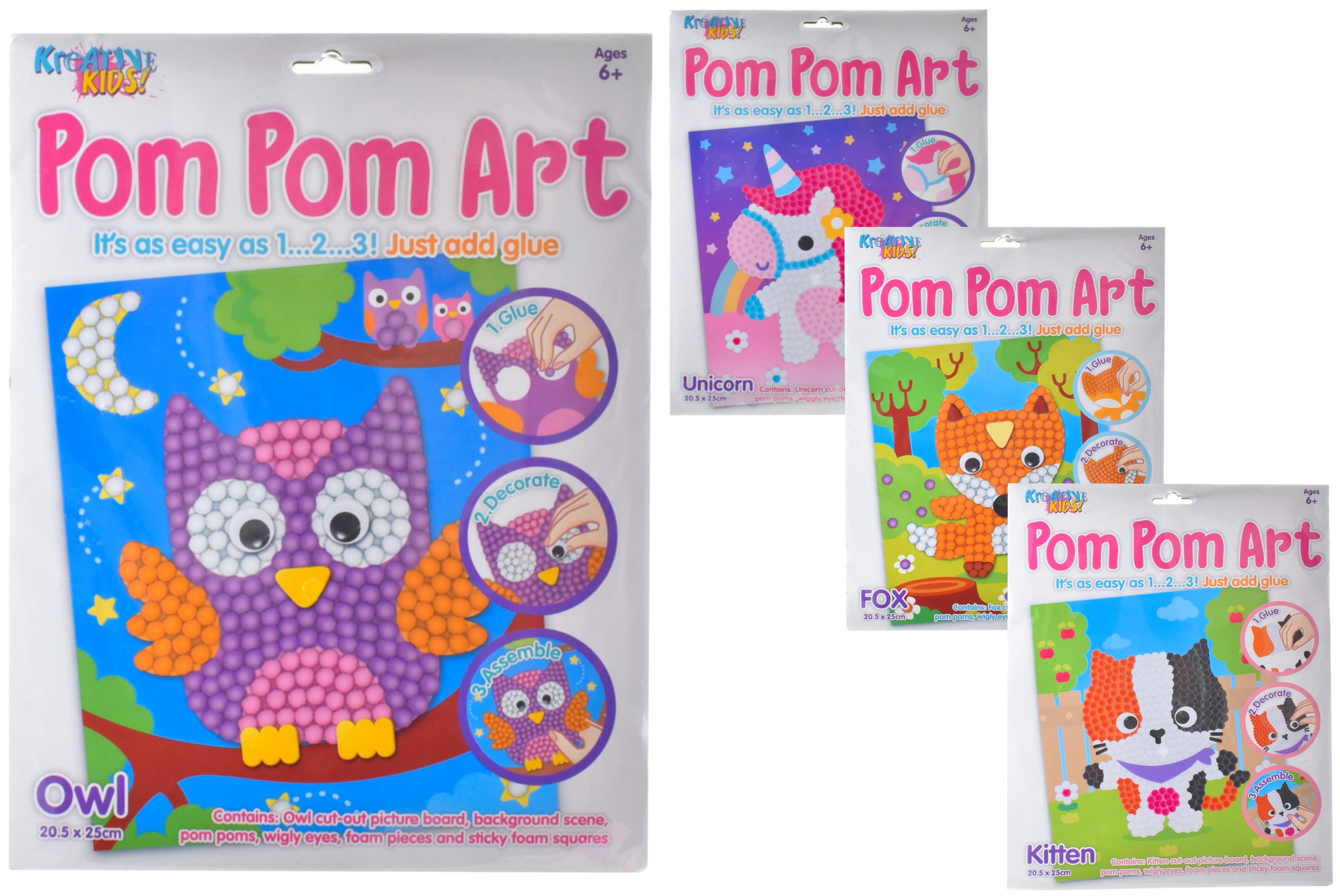 Pom Pom Art Craft Set (4 Assorted) In Hanging Bag