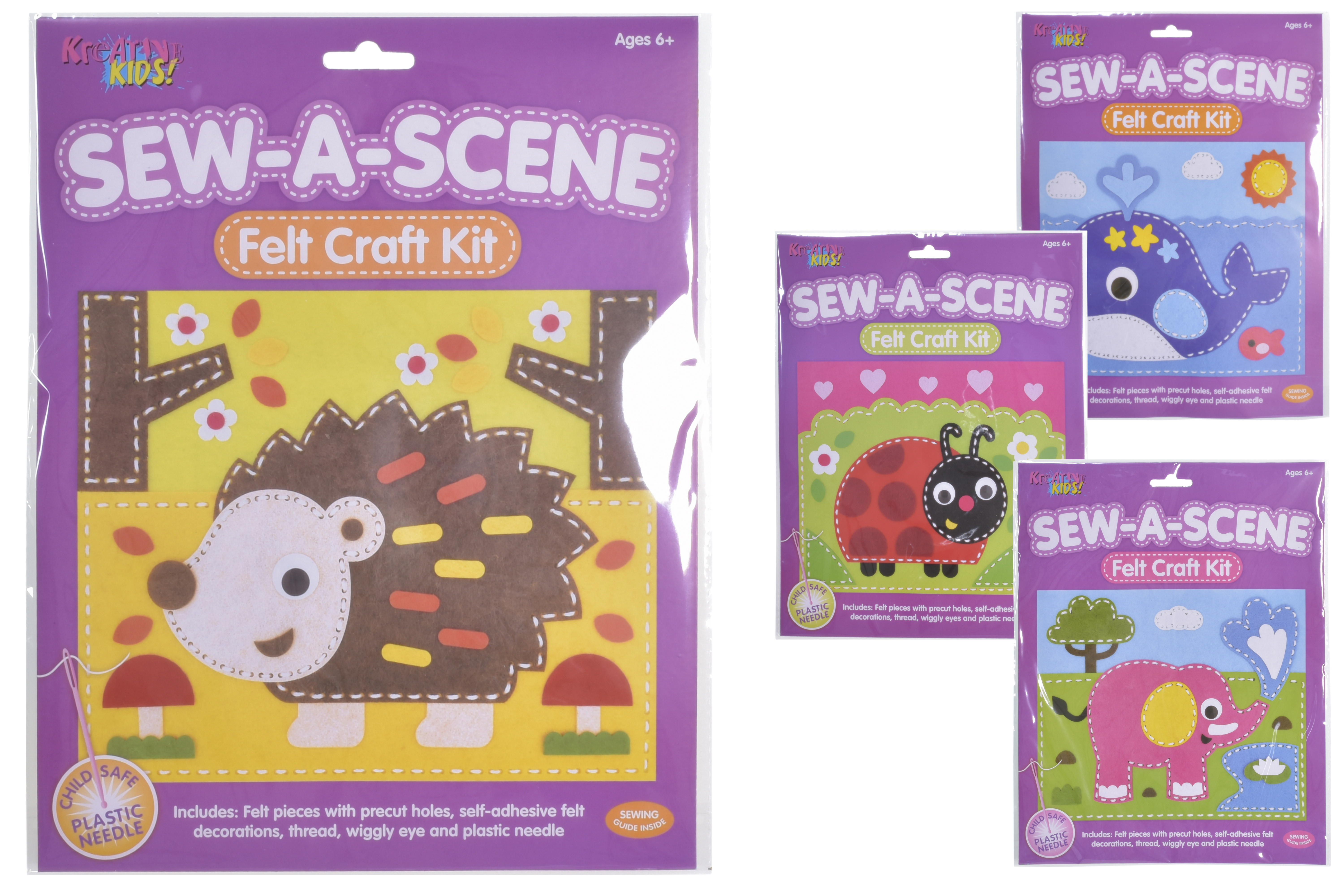 Sew-A-Scene Felt Craft Kit (4 Assorted) In Hanging Bag