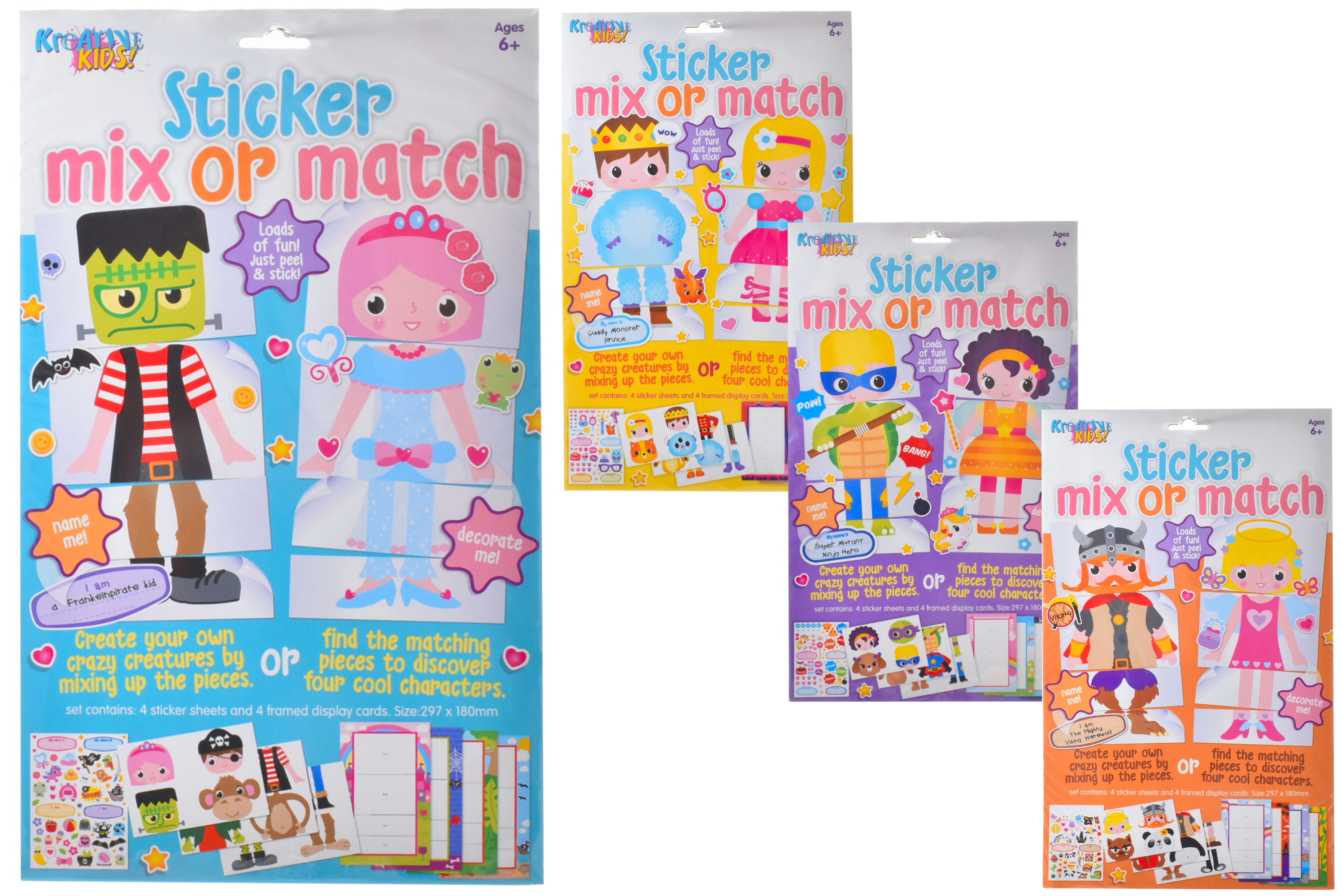 Sticker Mix-Or-Match Playset (4 Assorted) Hanging Bag