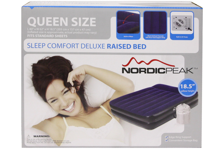 Queen Deluxe Raised Bed - Top Flocked W/ Pump