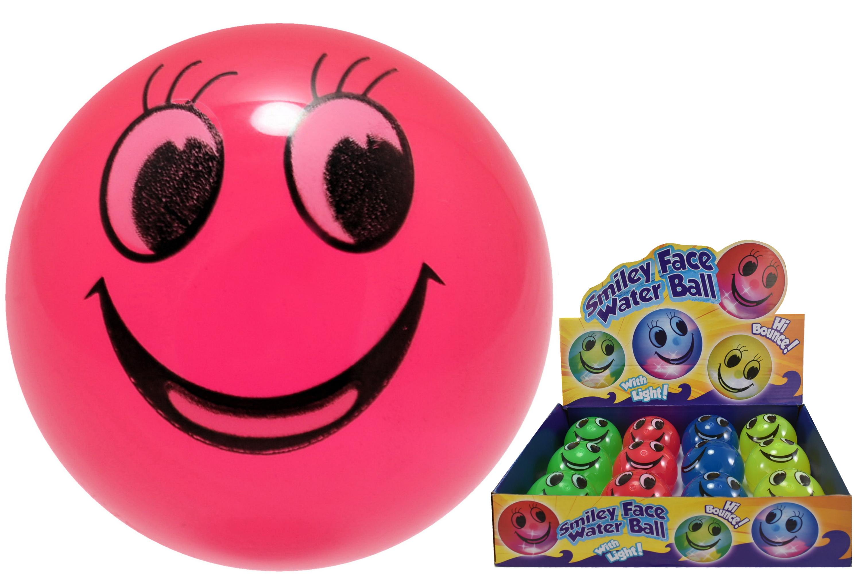65mm Light Up Smiley Face Bounce Water Ball (4 Asst) Db