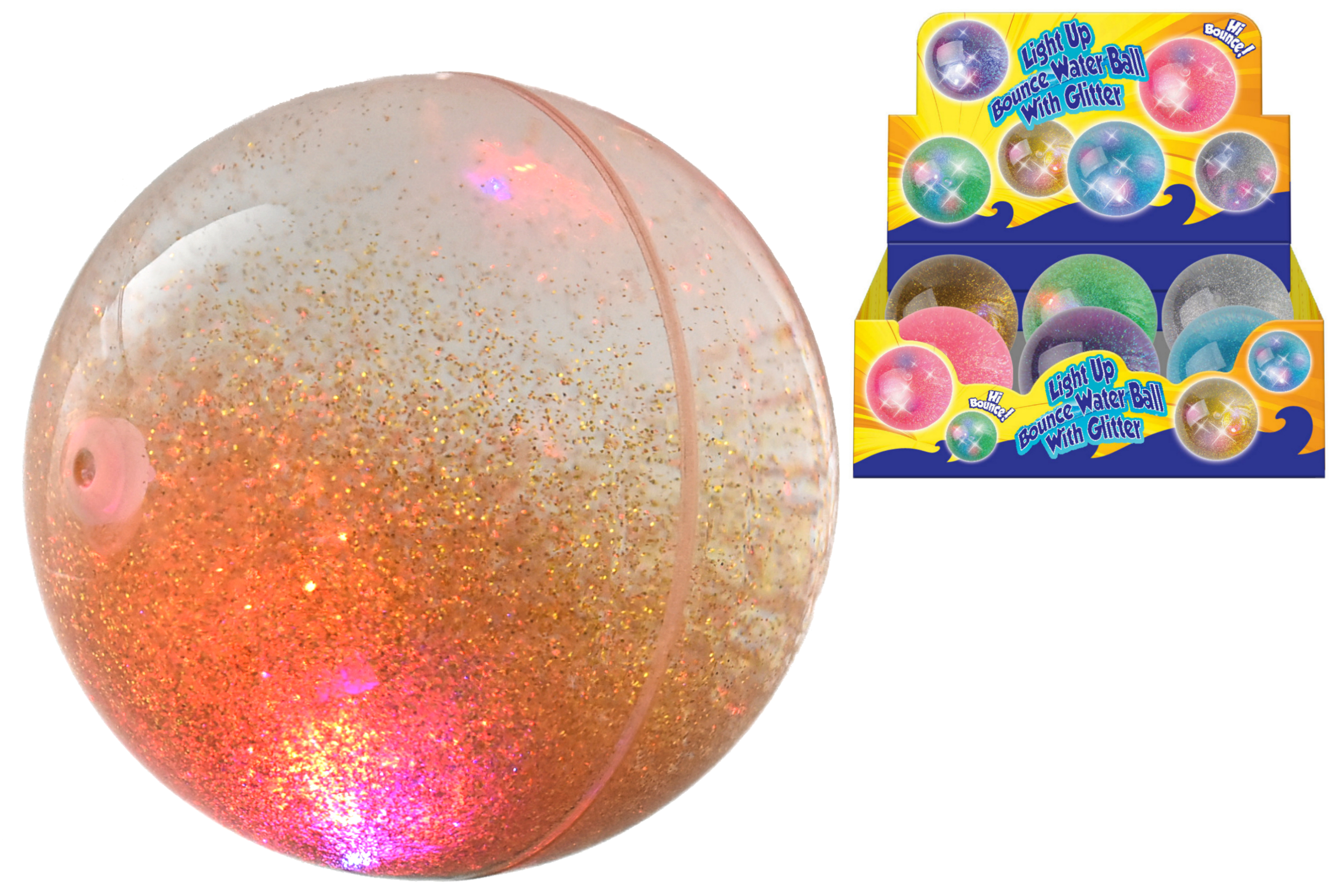 100mm Light Up Bounce Water Ball With Ribbon (4 Asst)Db