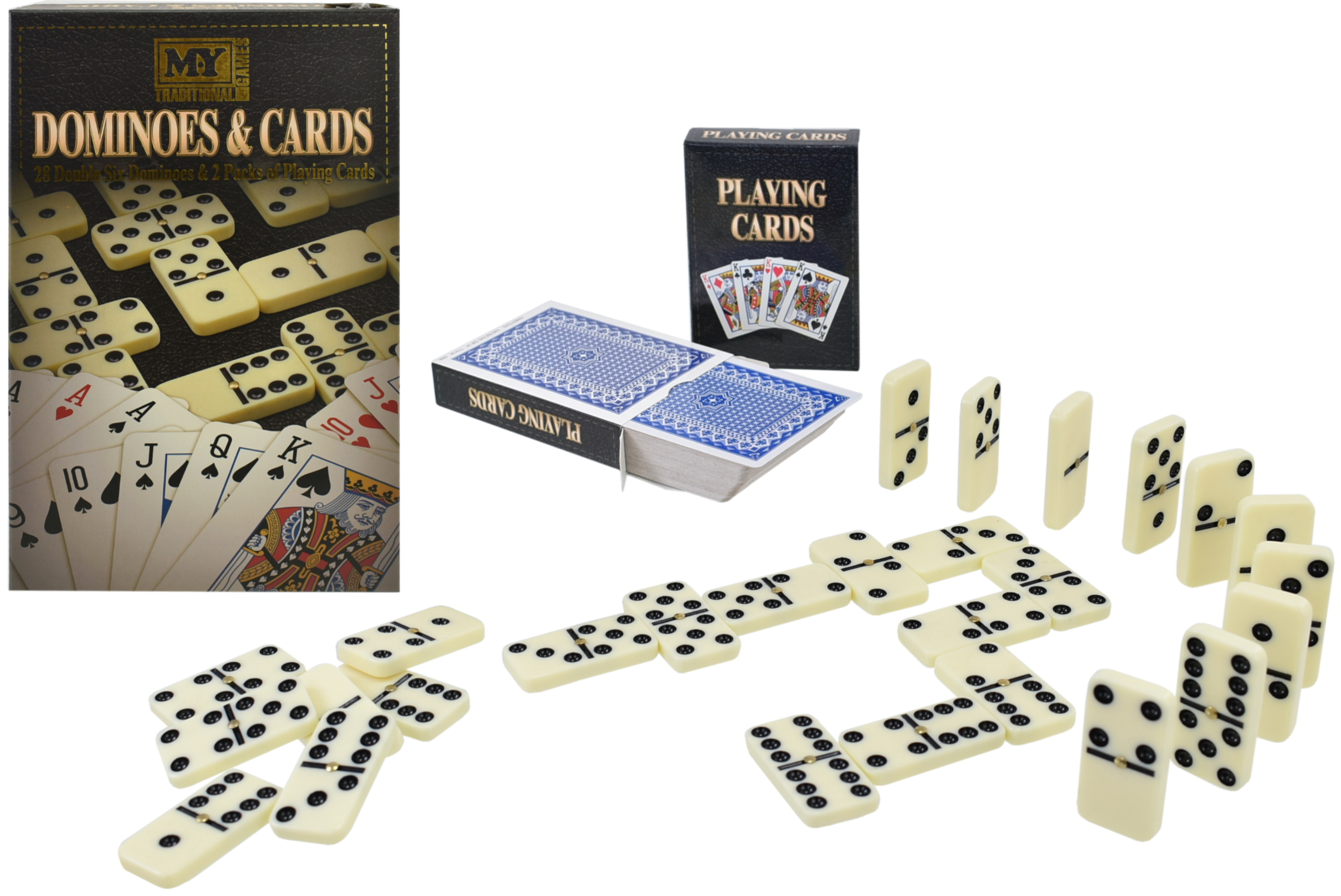 """28pc Double Six Dominoes & 2 Pack Playing Cards """"M.Y"""""""