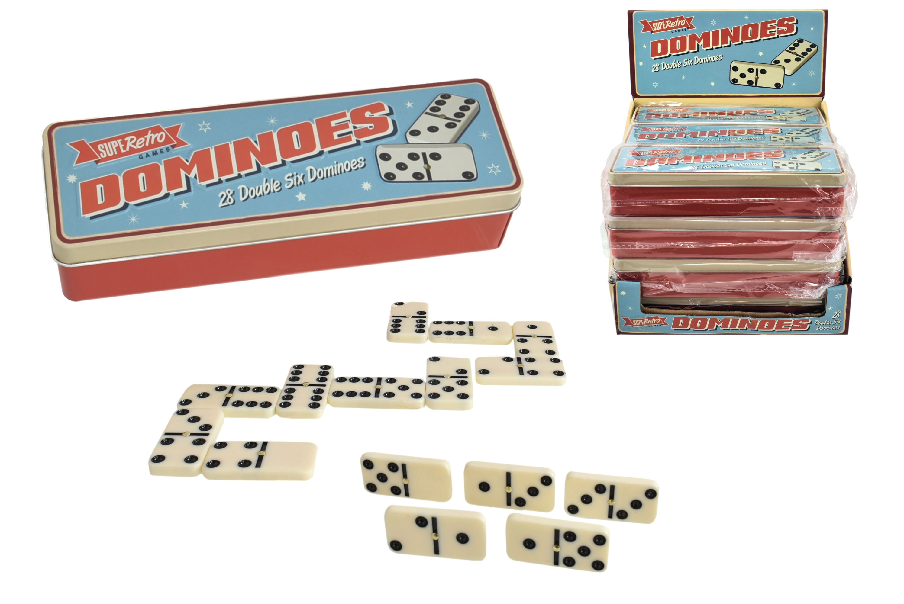 28pc Dominoes In Tin Box & Display Box