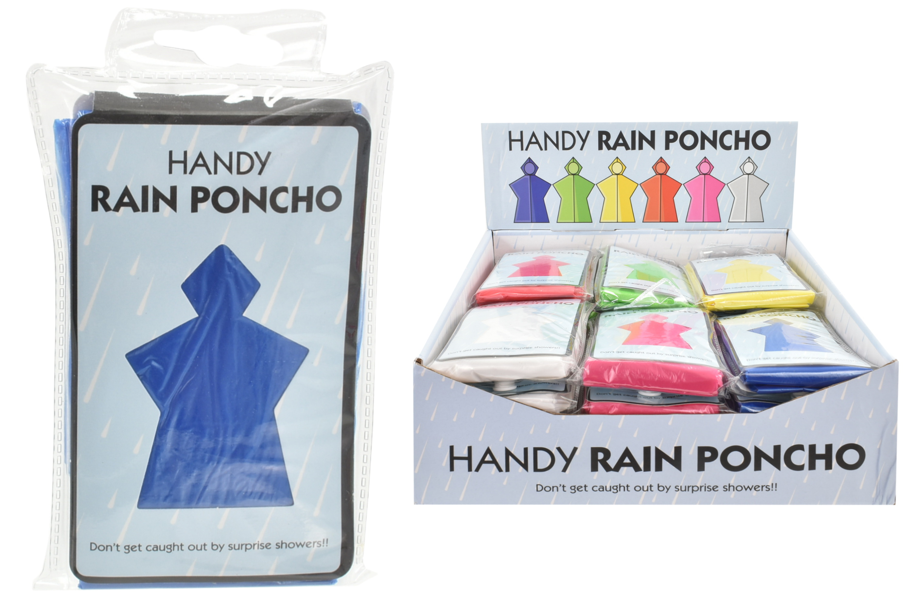 Emergency Rain Poncho In Colour Box