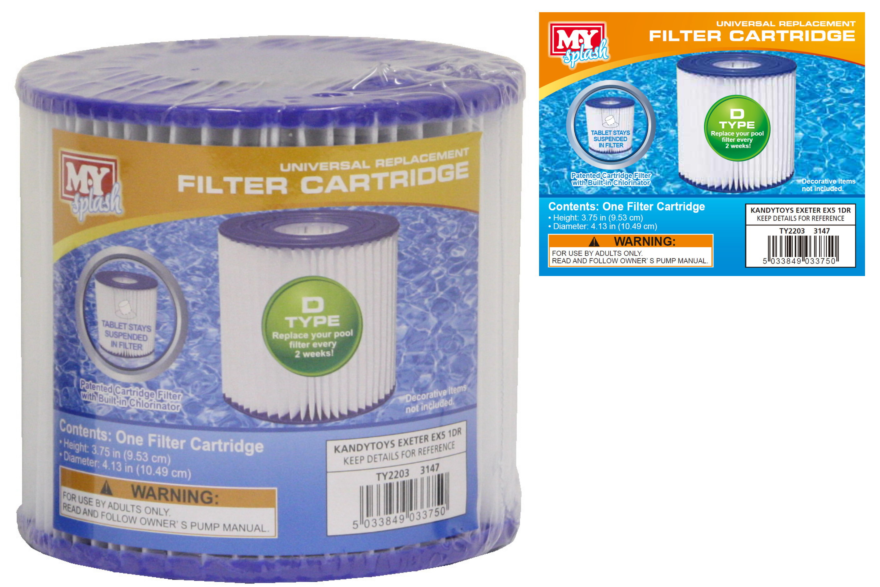 Filter Cartridge Type D For M.Y Splash Filter Pumps