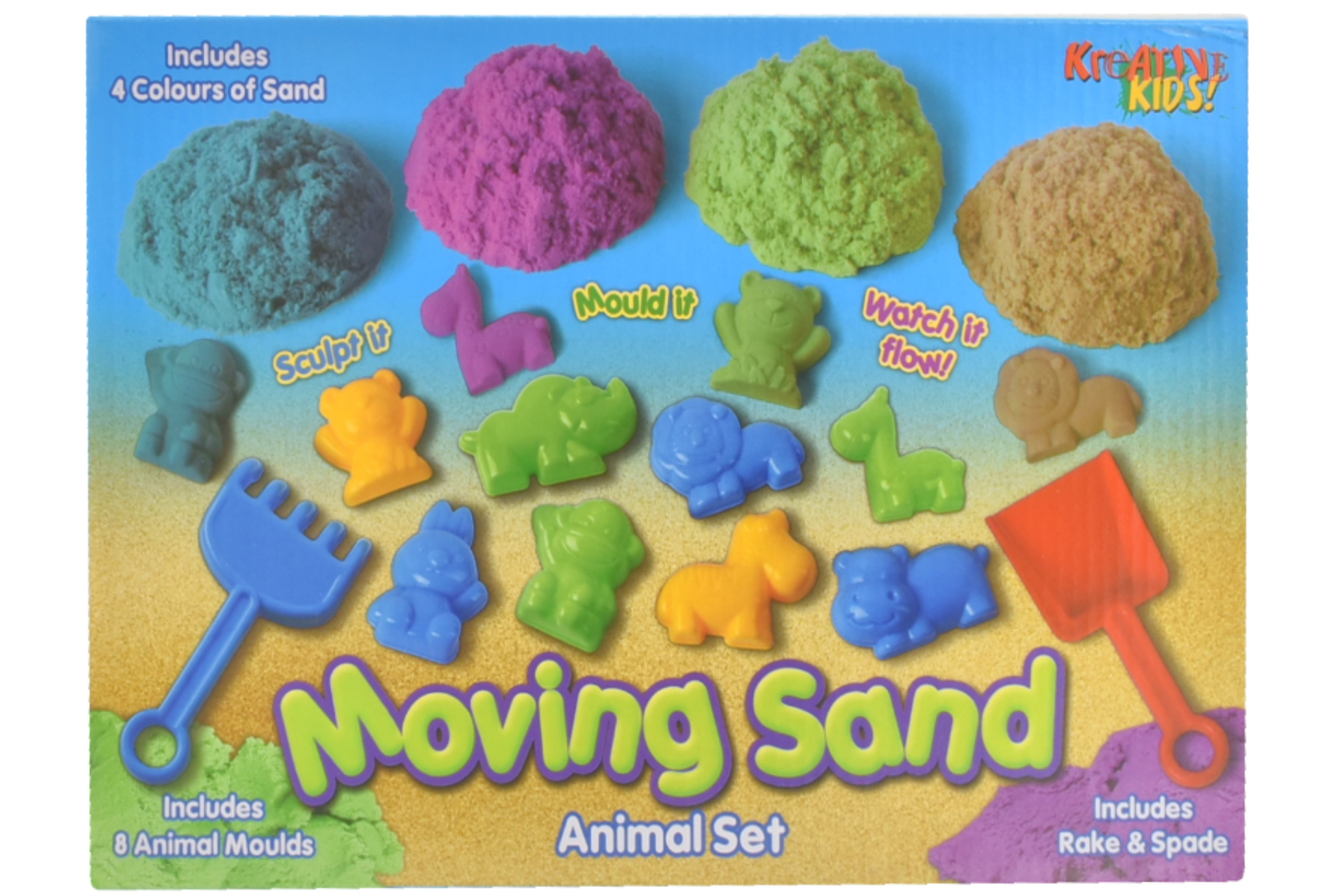 600gm Moving Sand With 8pc Animal Accessories In Box
