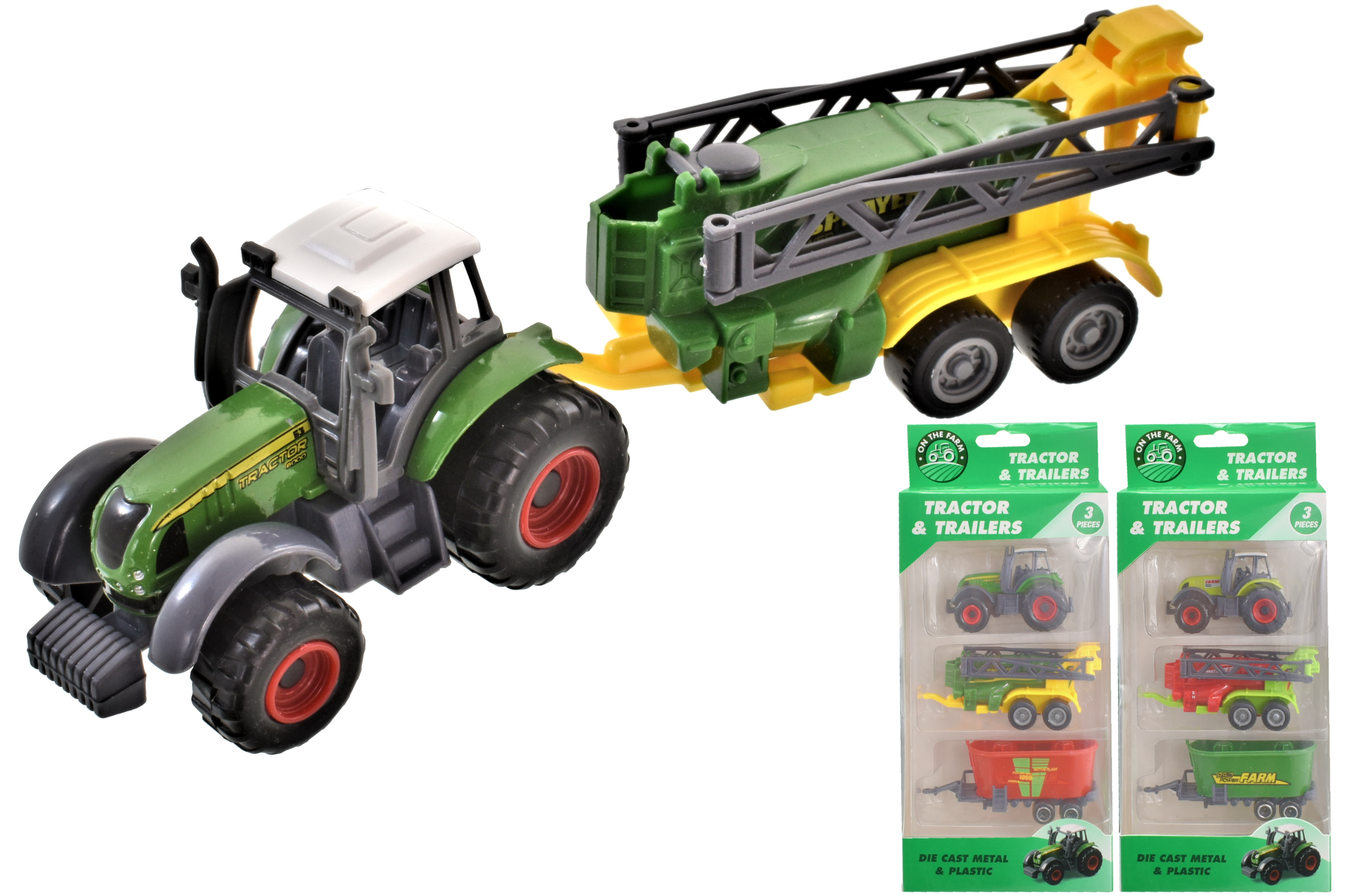 3pc Die Cast Tractor With Farm Implements (2 Asst)