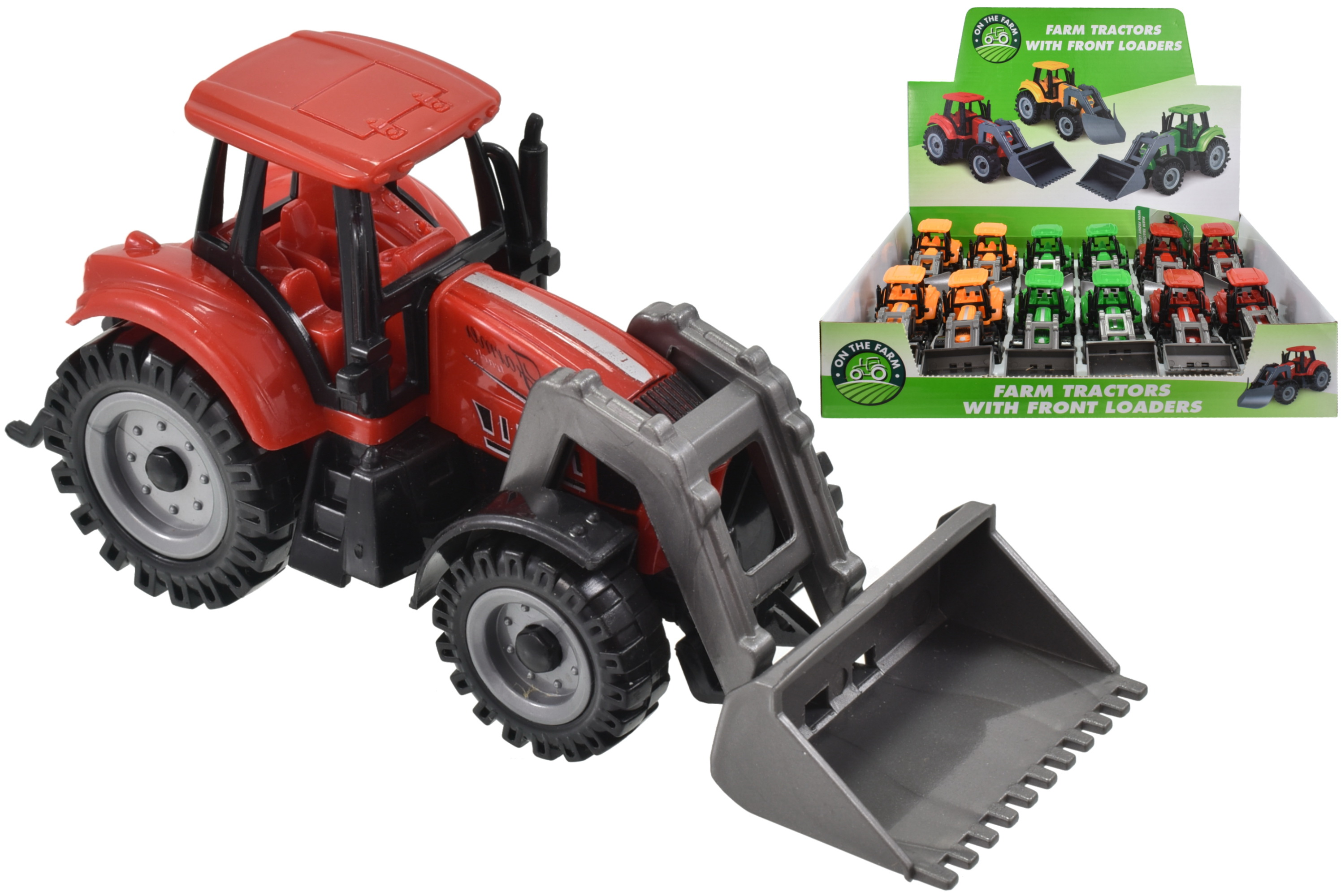 Plastic Tractors With Front Loaders (3 Asst Colours)Dbx