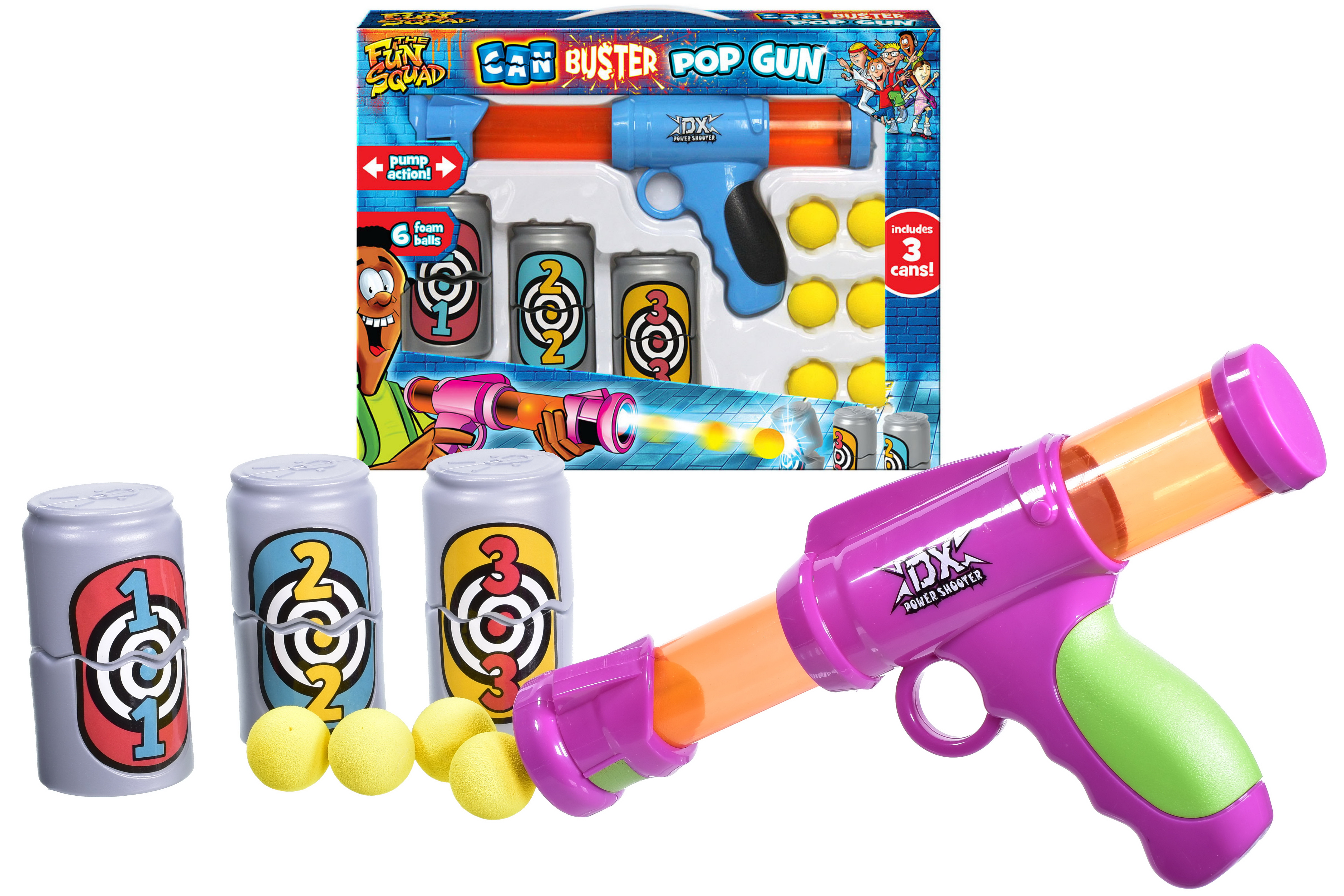 Pop Ball Gun With 3pc Can Targets In Window Box