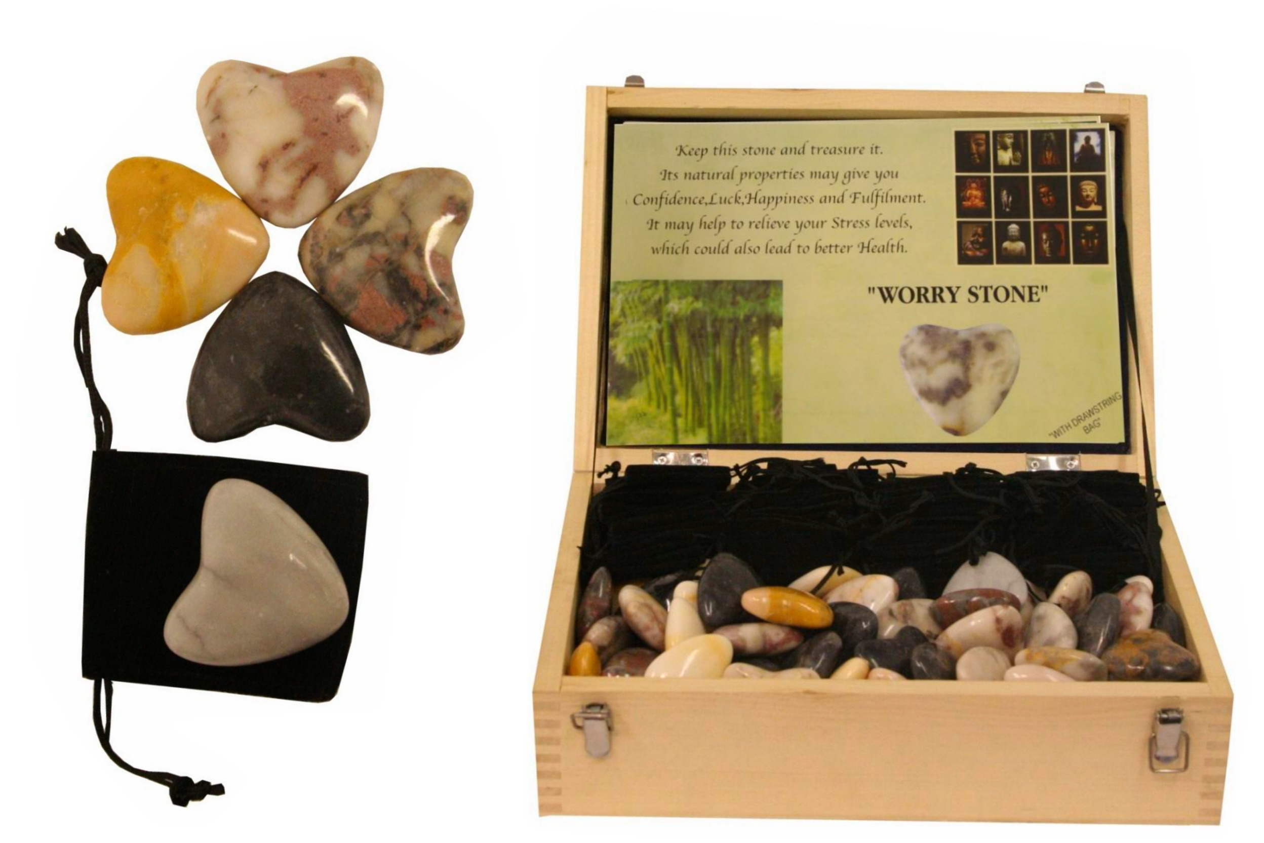 Worry Stone In Drawstring Bag In Wooden Display Box