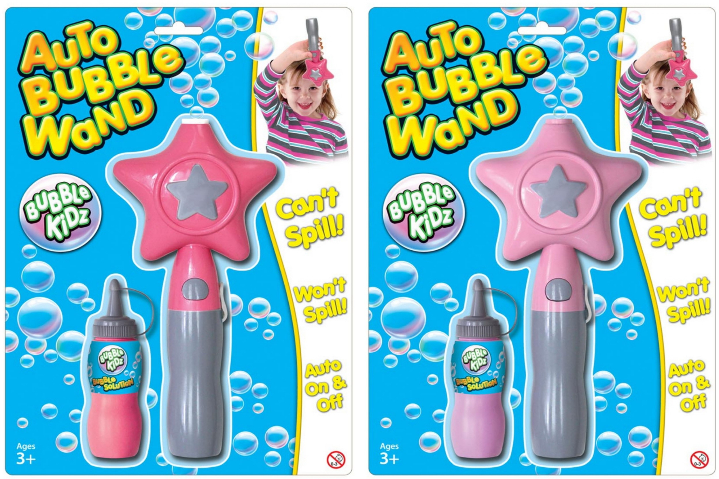 "Auto Bubble Wand With Filler On Blistercard ""Bubbles"""