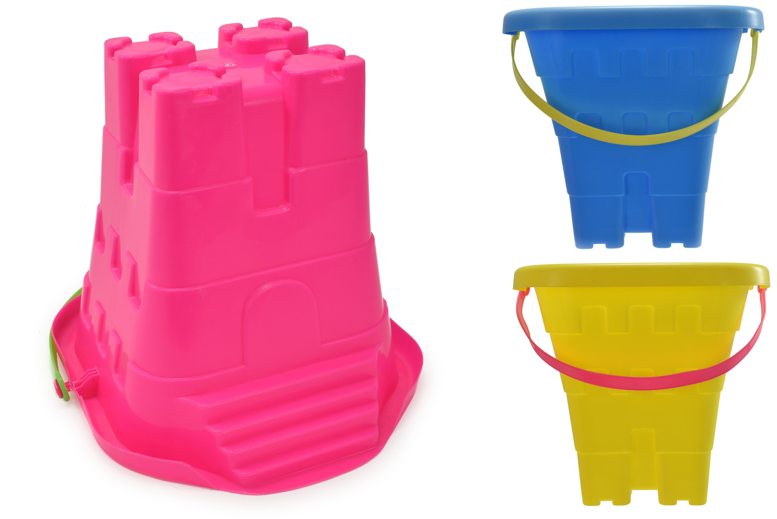 "8""/20cm Square Castle Bucket With Steps 3 Assorted Cols"
