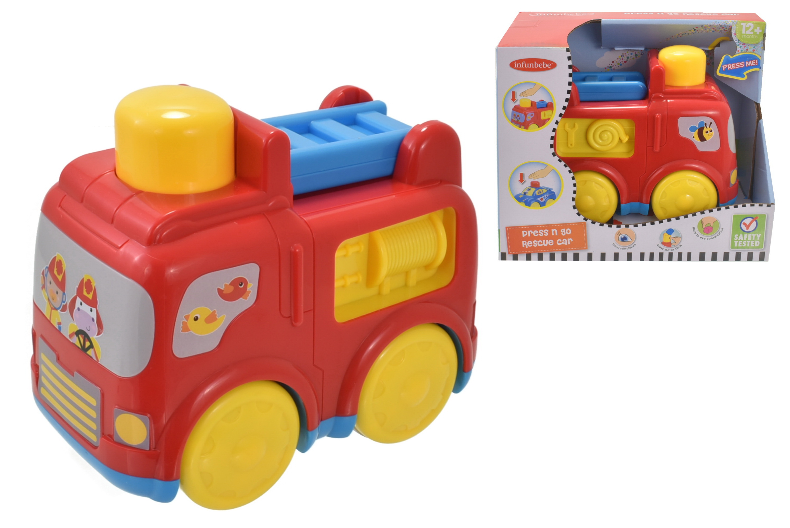 Press N Go Fire Engine In Open Touch Box - 12m+