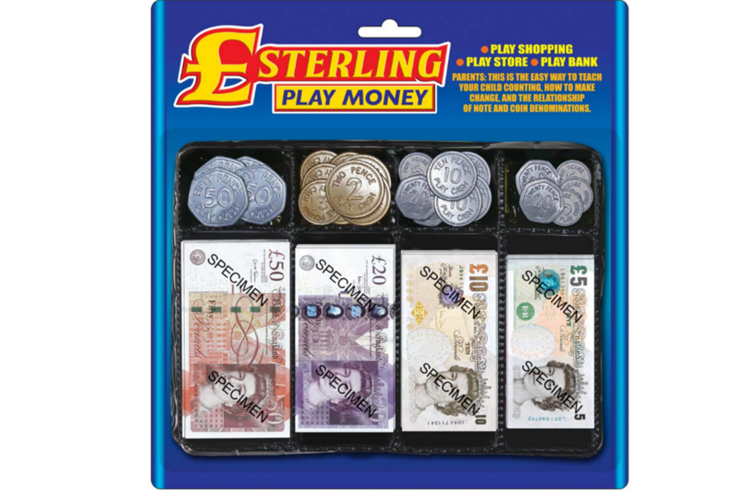 Sterling Play Money Set On Blistercard