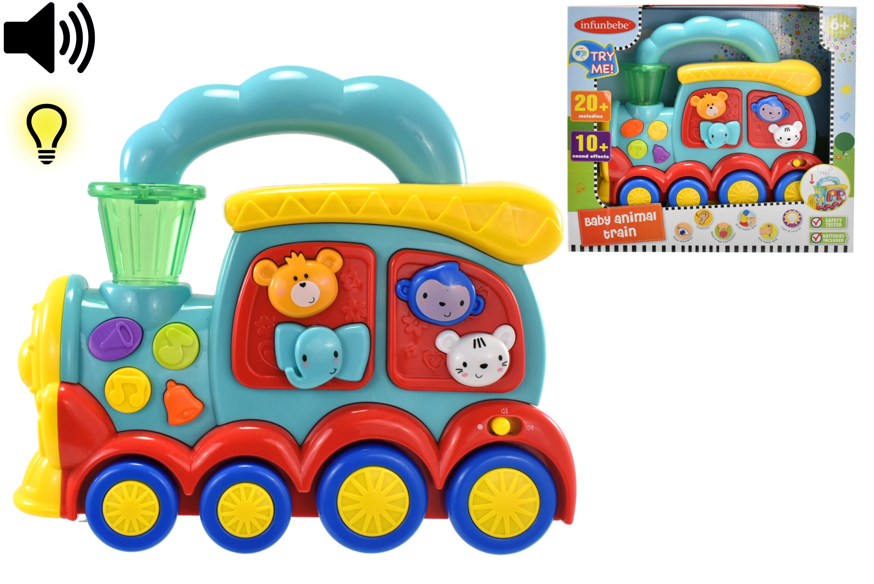 """Baby Animal Train """"Try Me"""" In Open Touch Box - 6m+"""