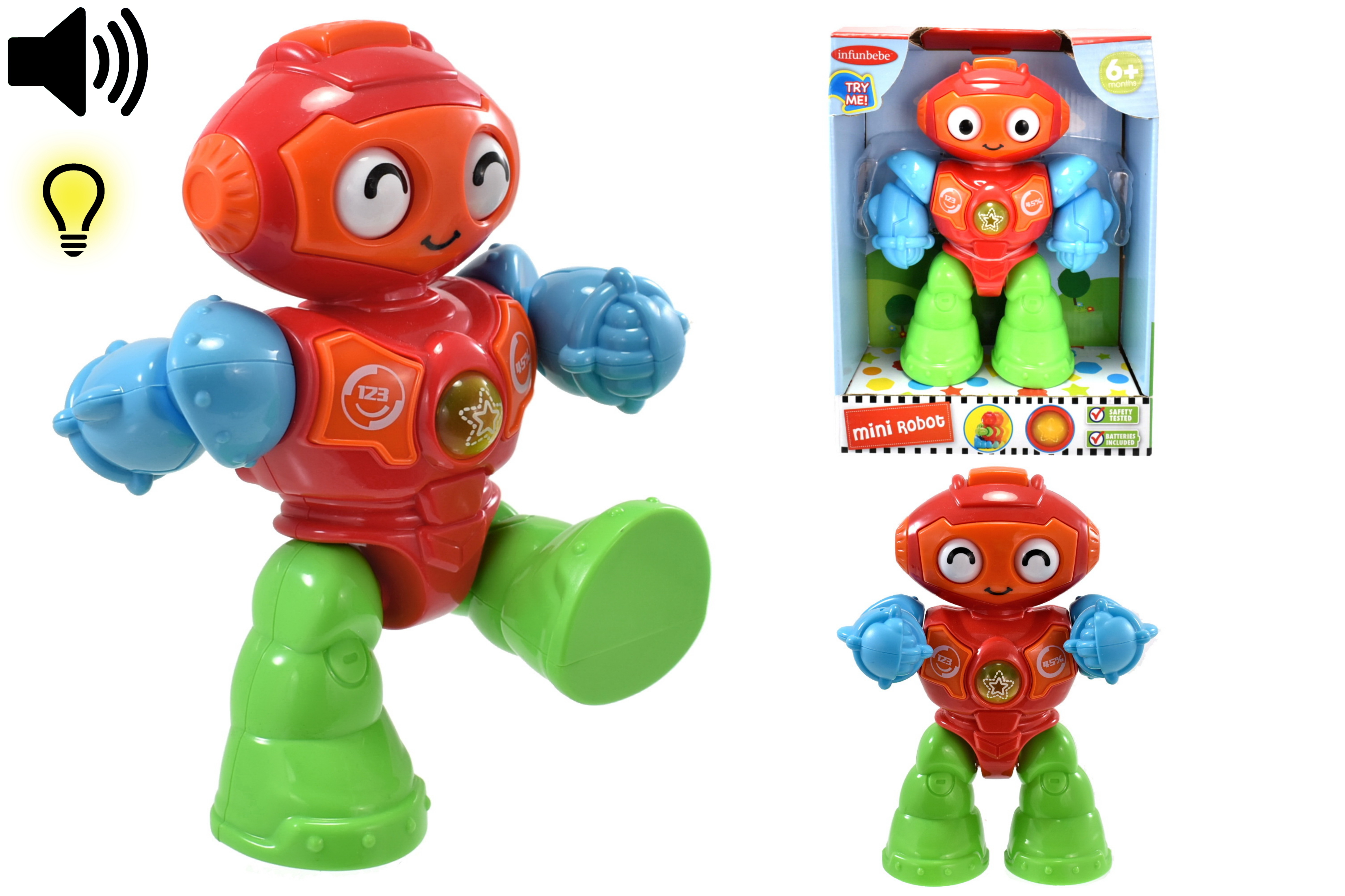 """Mini Robot """"Try Me"""" In Open Touch Box - 6m+"""