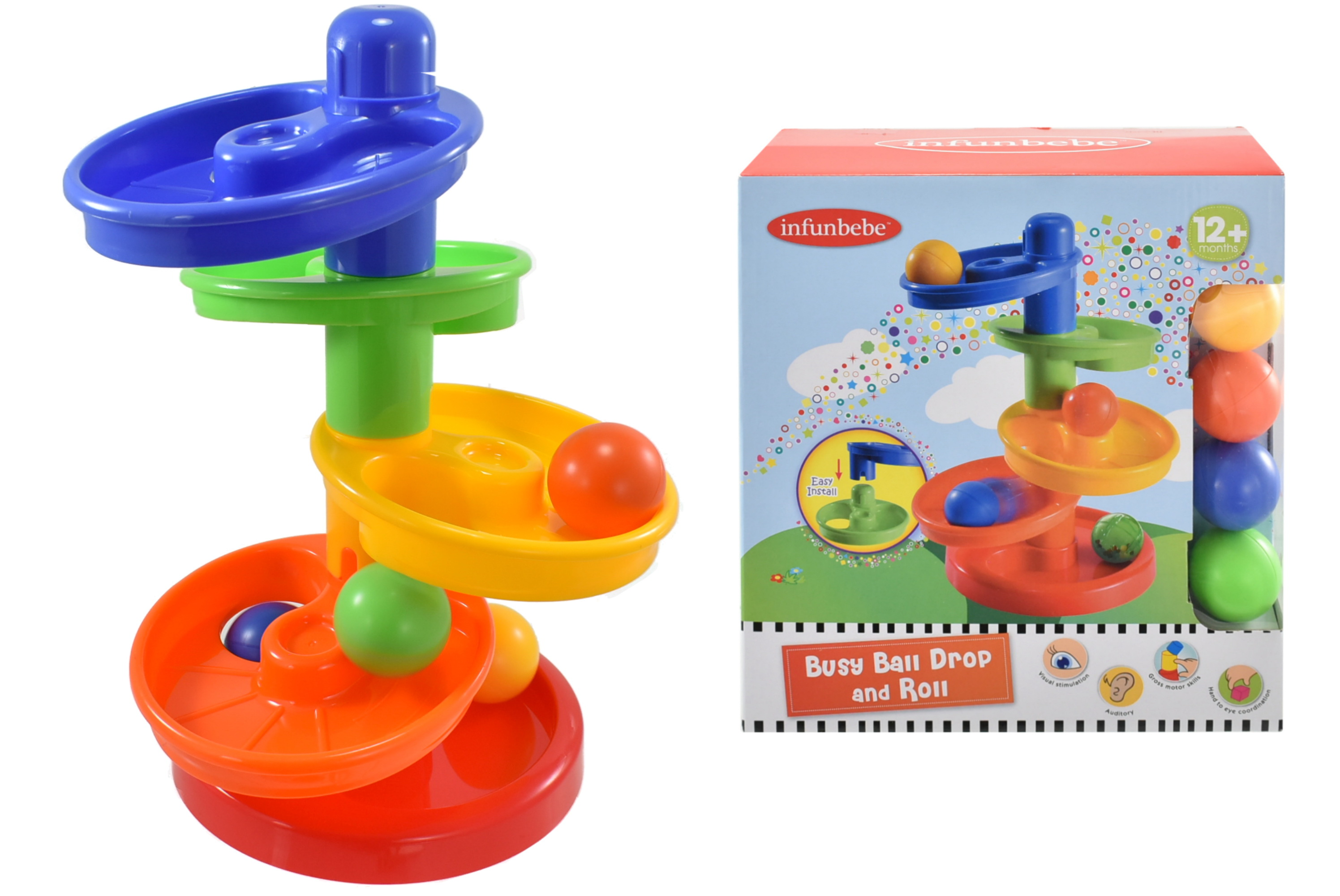 Busy Ball Drop & Roll Set In Colour Box - 12m+