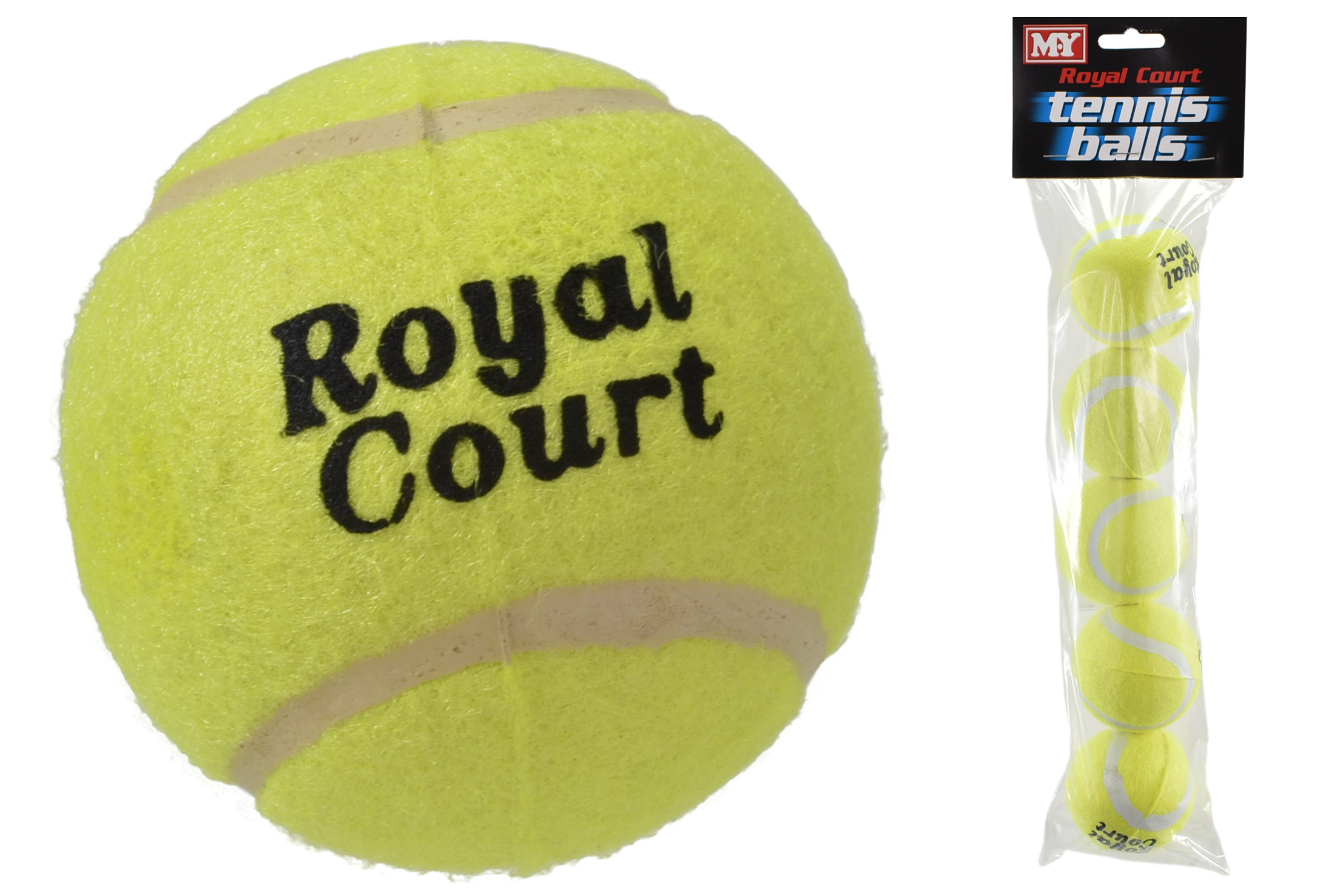 "Royal Court 5 Pack Tennis Balls In Polybag Header ""M.Y"""