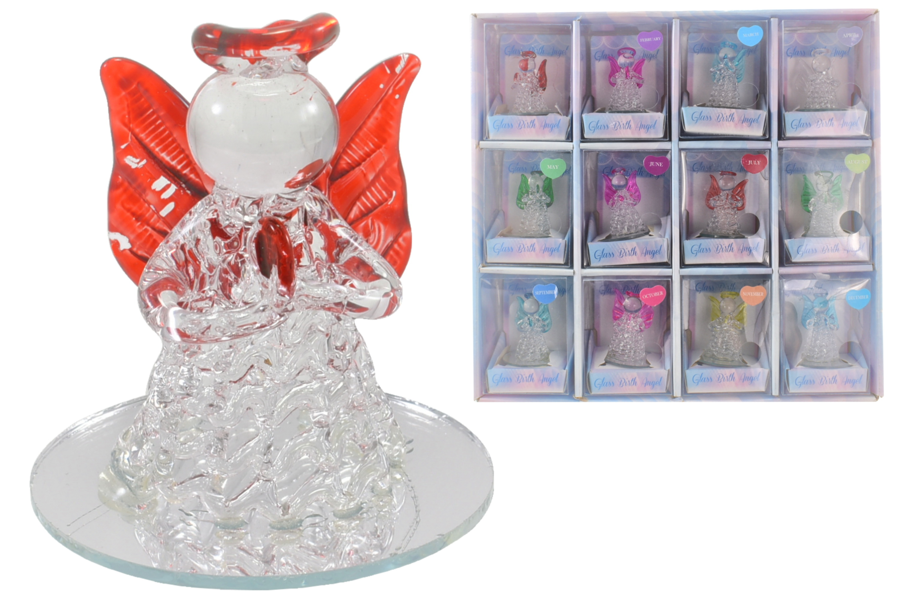 Glass Birth Angels In Display Stand