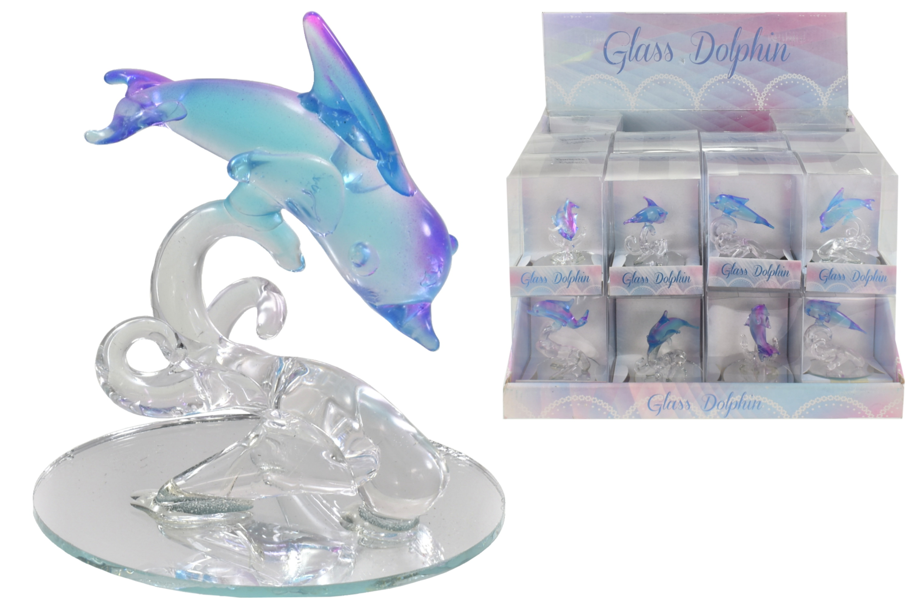 Glass Dolphin (4 Assorted) On Stand In Display Box