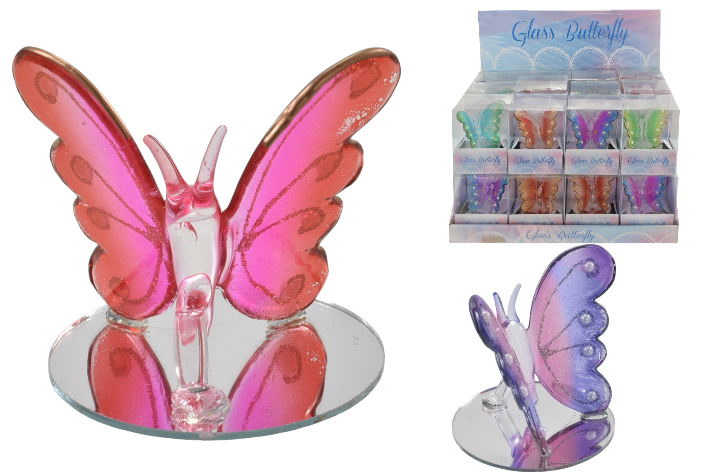 Glass Butterflies (6 Assorted) On Stand In Display Box