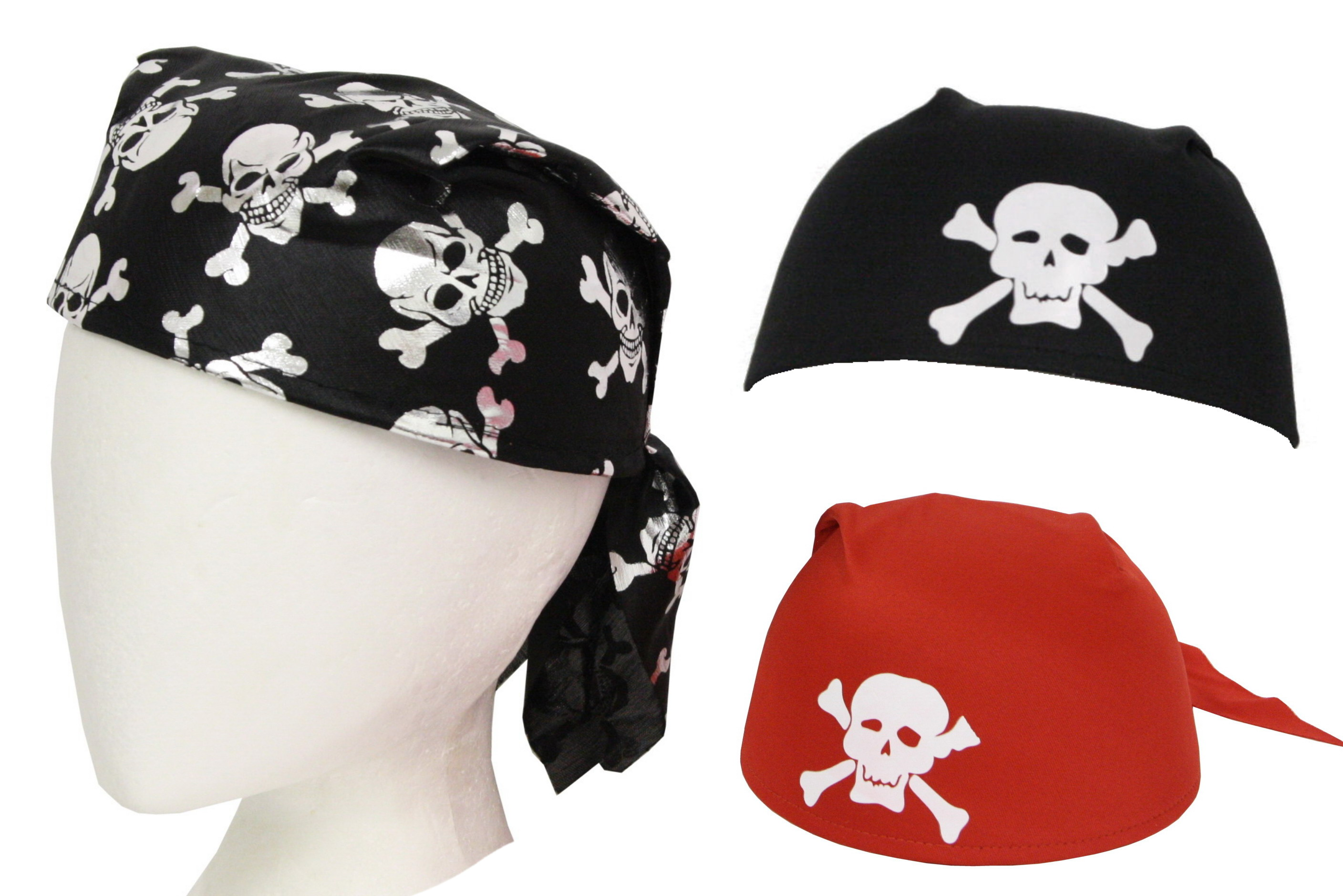 Pirate Bandana Hats - 3 Assorted Colours