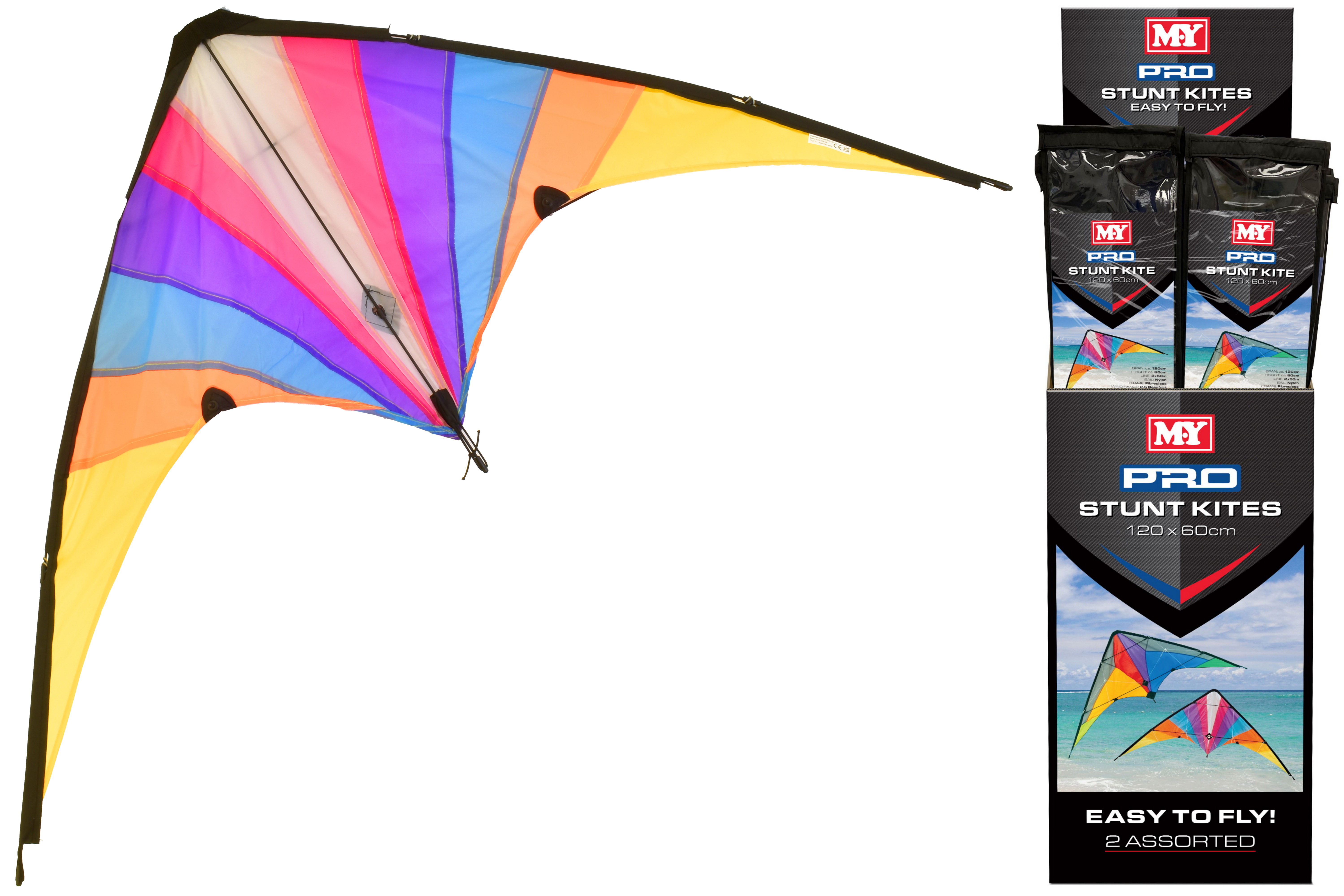 120cm x 60cm Stunt Kite (2 Assorted) In Display Box