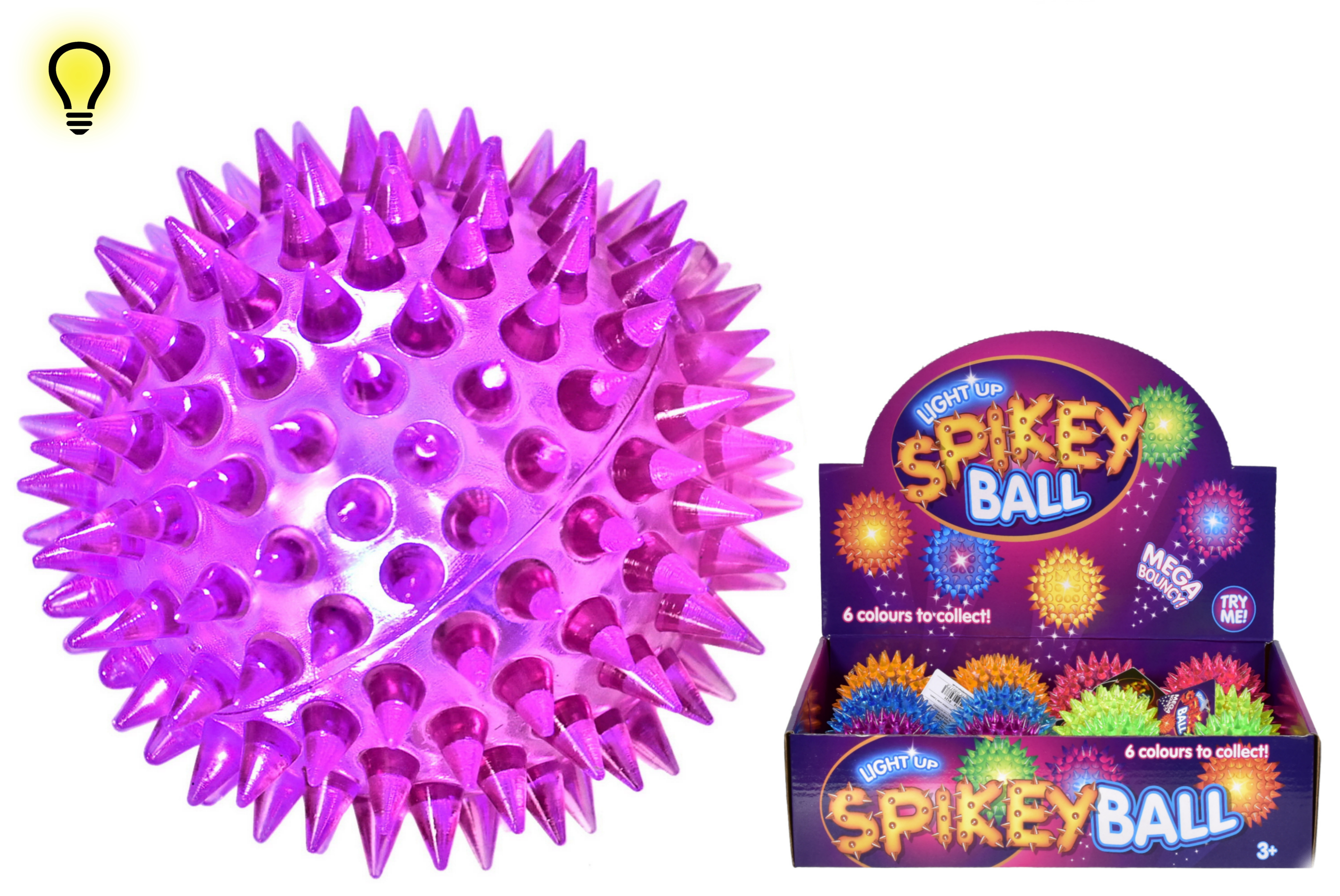 75mm Light Up Spikey Ball In D/Box