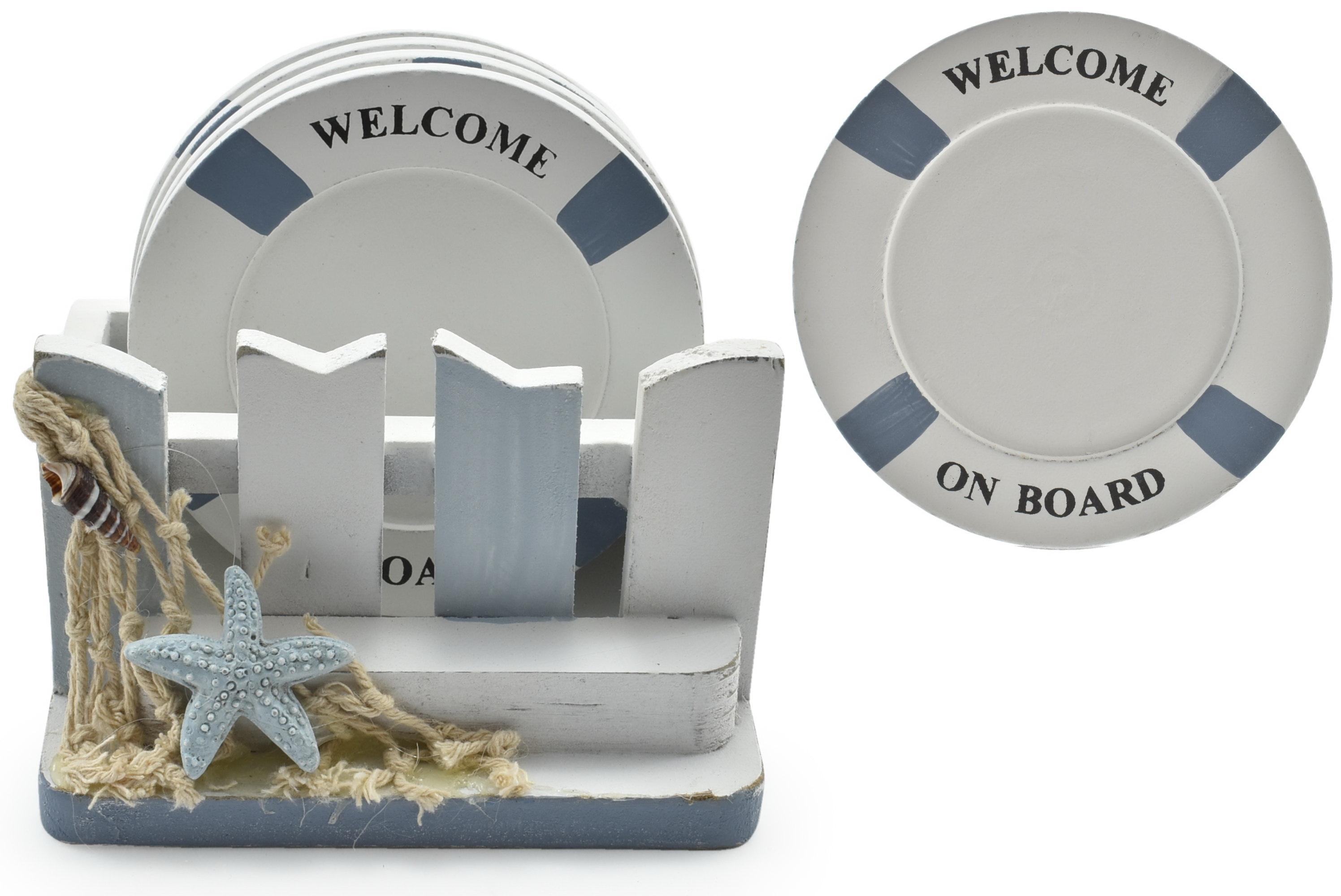 Wooden 4pc Coaster Set