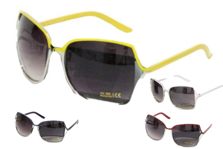 Ladies Metal Frame Designer Sunglasses - 4 Assorted