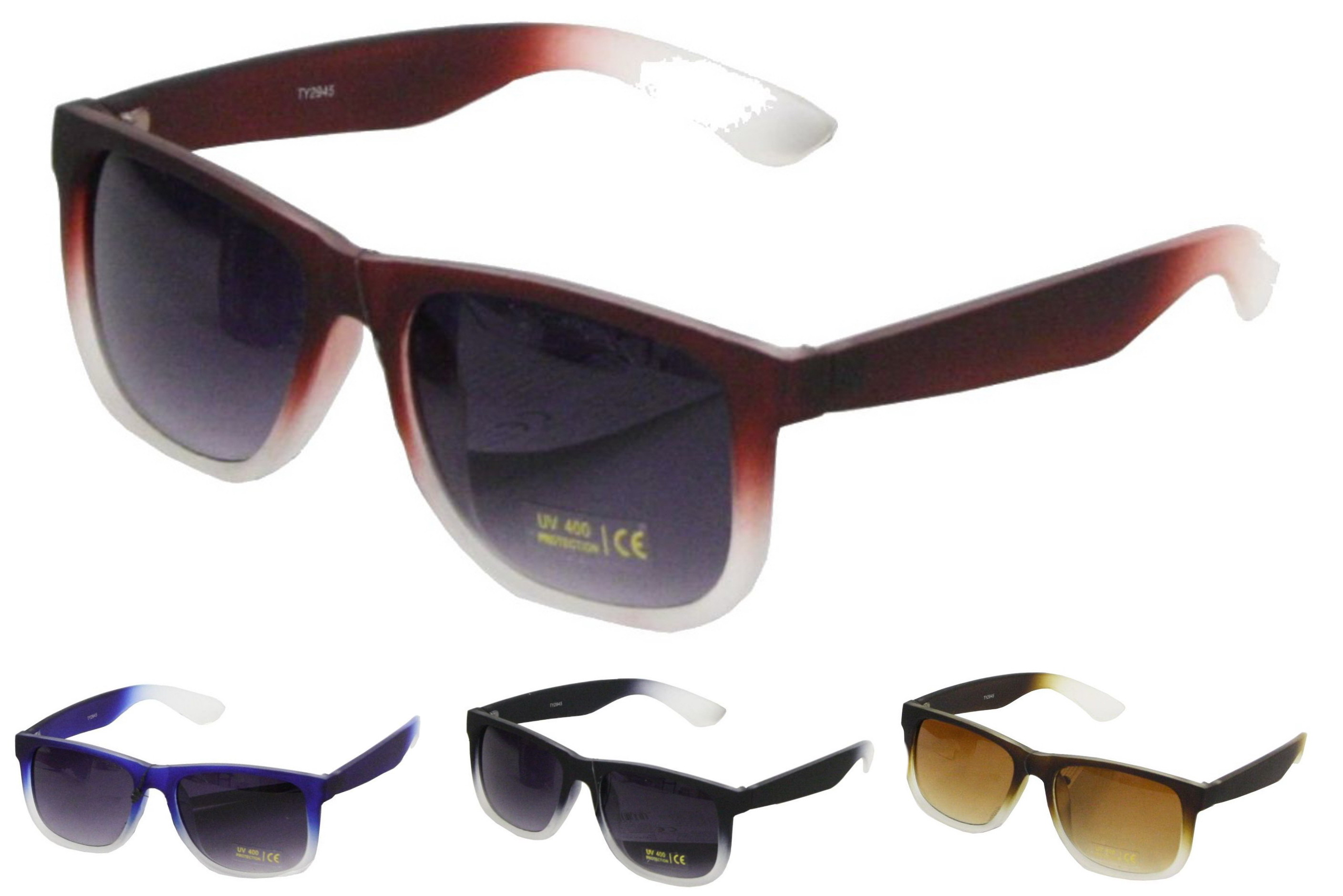 Adult Rubberised Framed Sunglasses - 4 Assorted