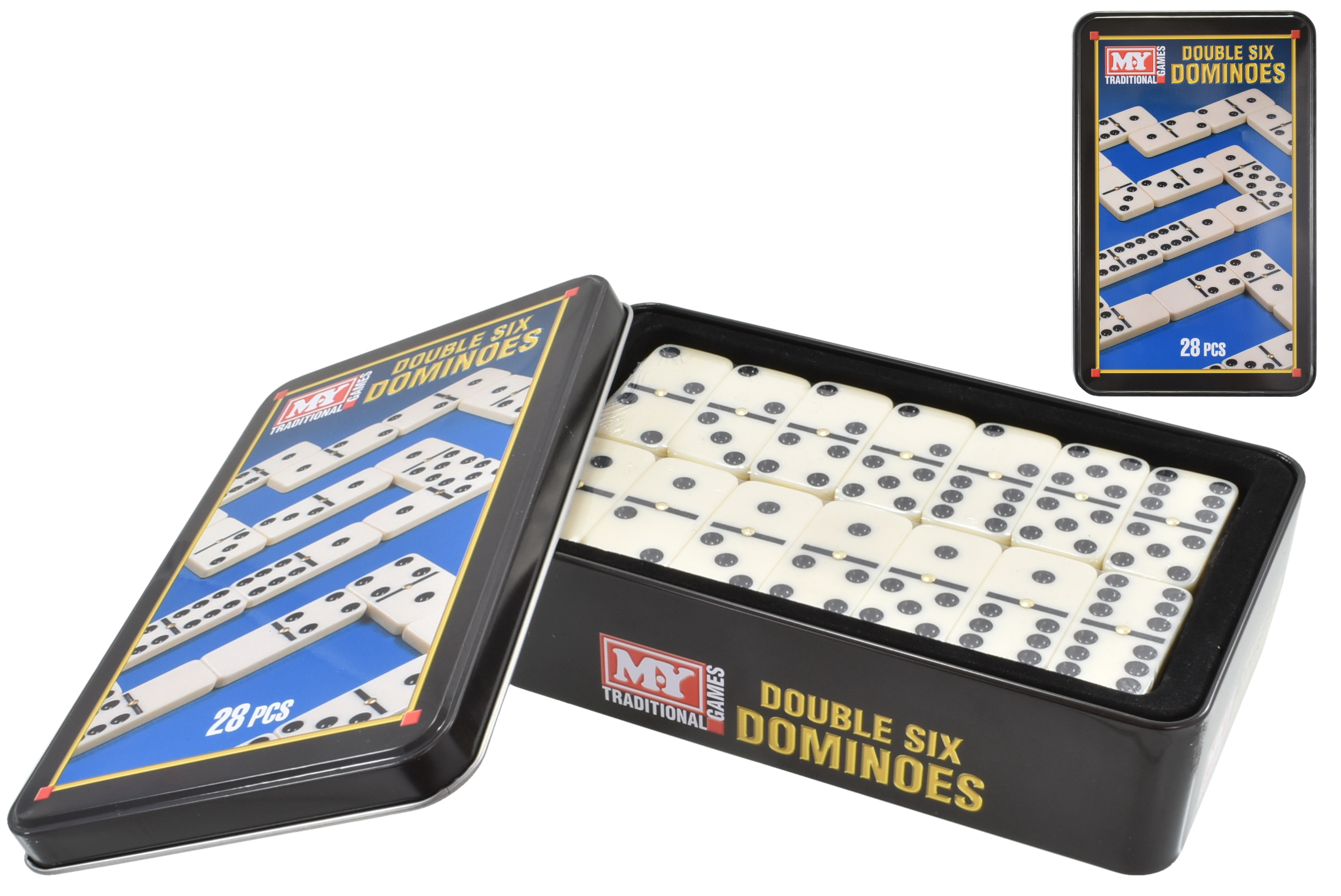 """""""M.Y"""" 28pc Dominoes Double Six Game In Tin Box"""