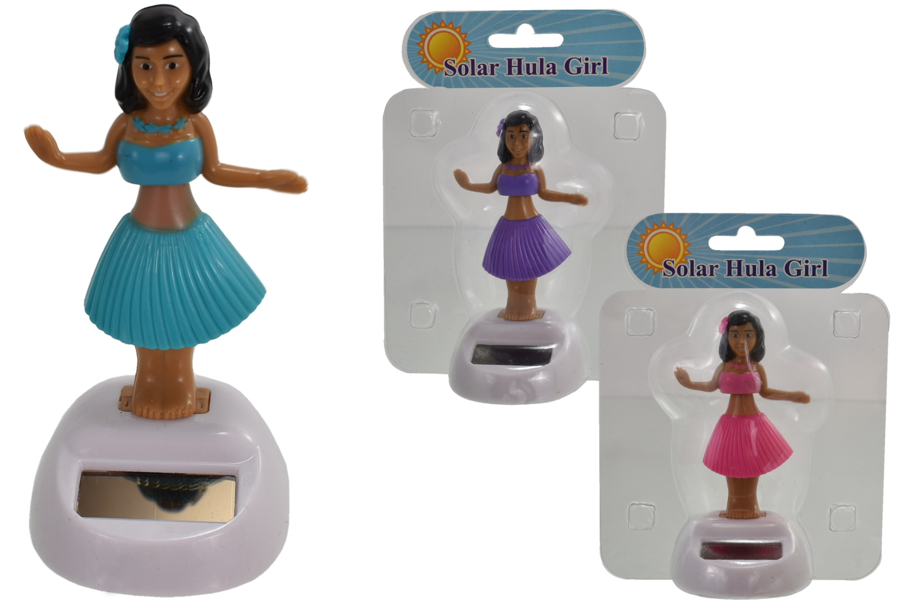 Solar Dancing Hula Girl (3 Assorted Cols) In Clamshell