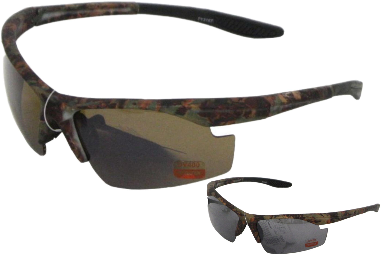 Mens Plastic Half Frame Camouflage Sunglasses - 2 Asst