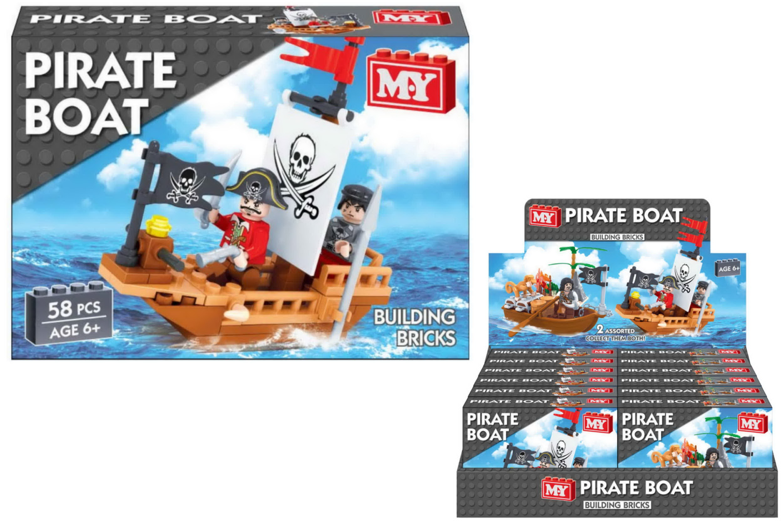 "Pirate Boat Brickset In Display Box - 2 Assorted ""M.Y"""
