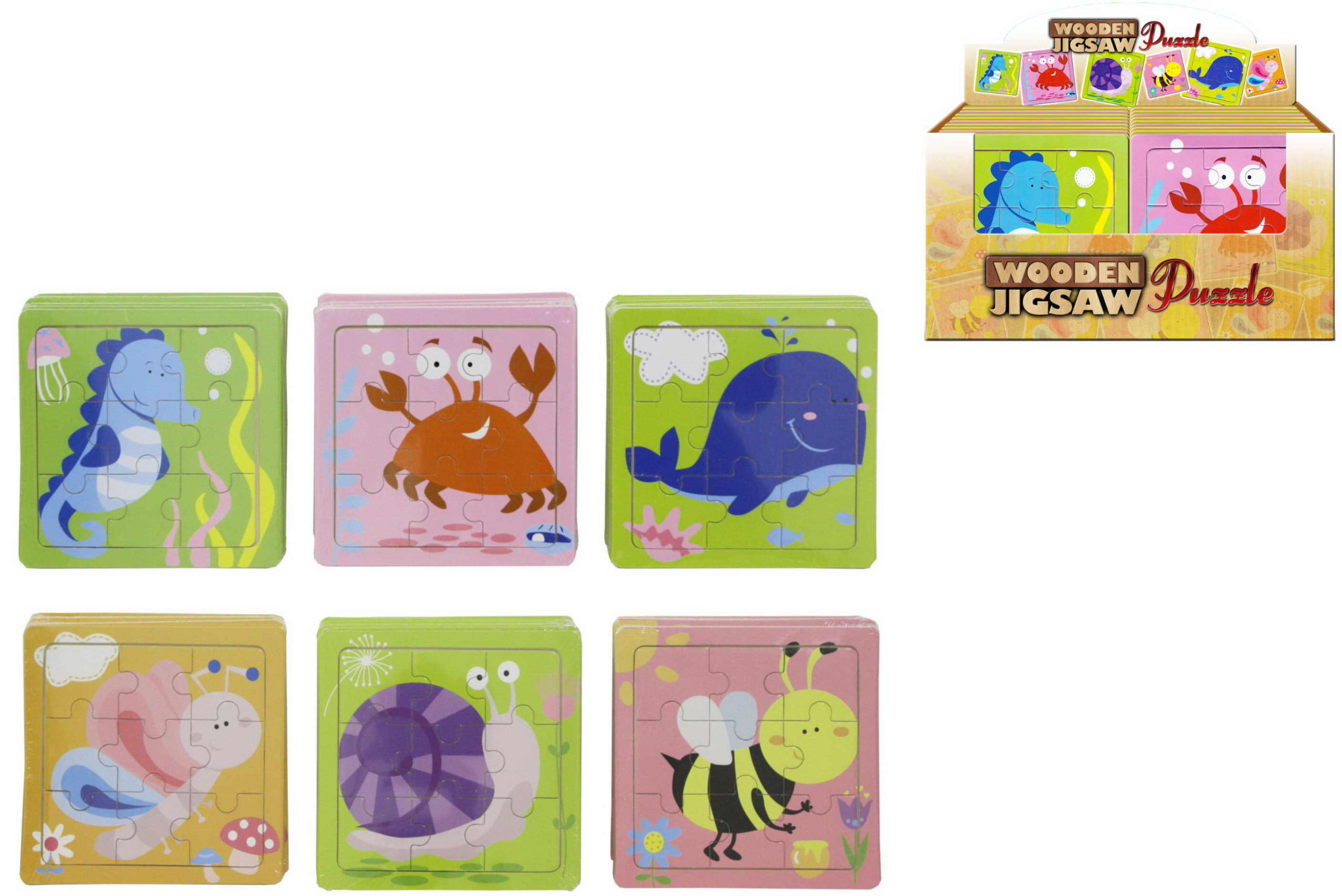 Wooden Jigsaw Puzzle In Display Box - 6 Assorted