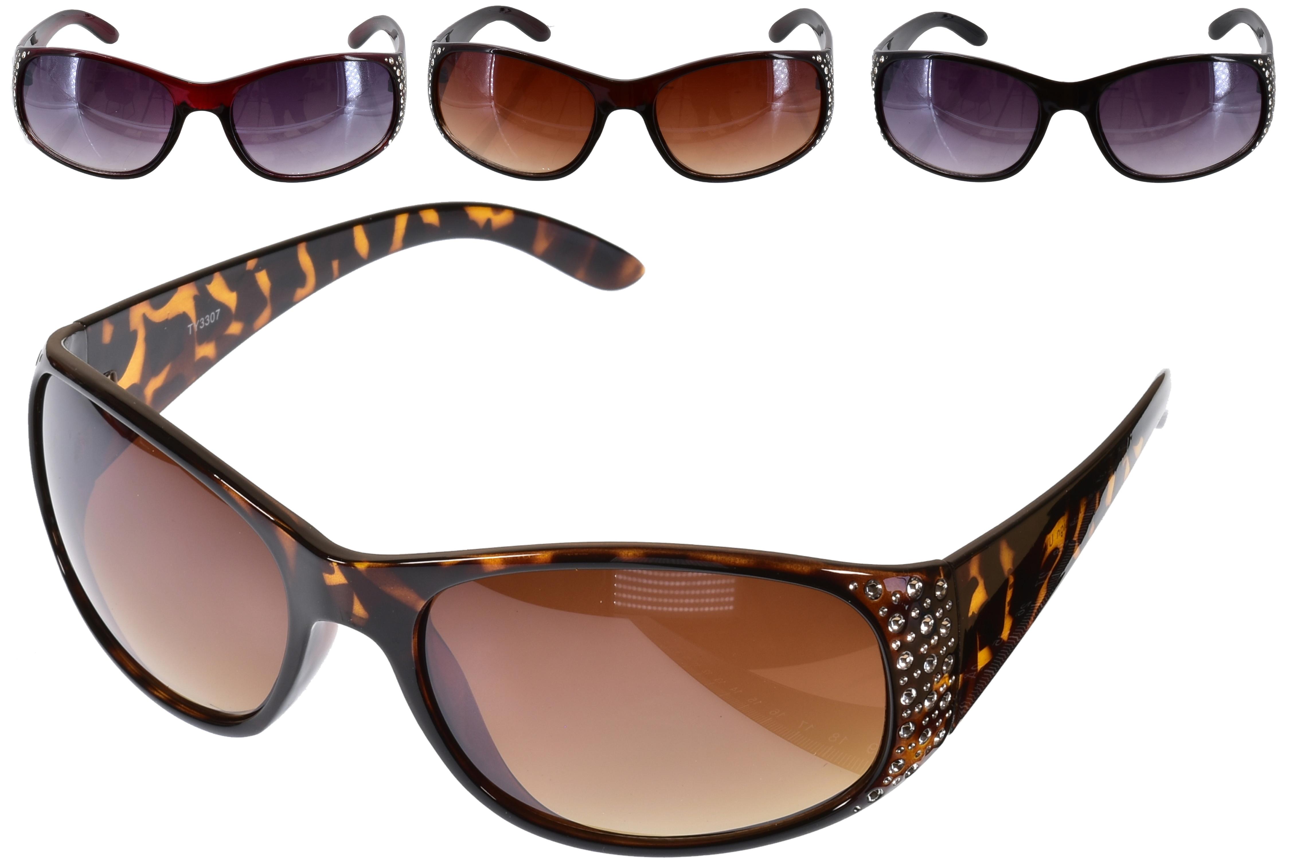 Ladies Plastic Frame Designer S/Glasses With Gems 4 Ass
