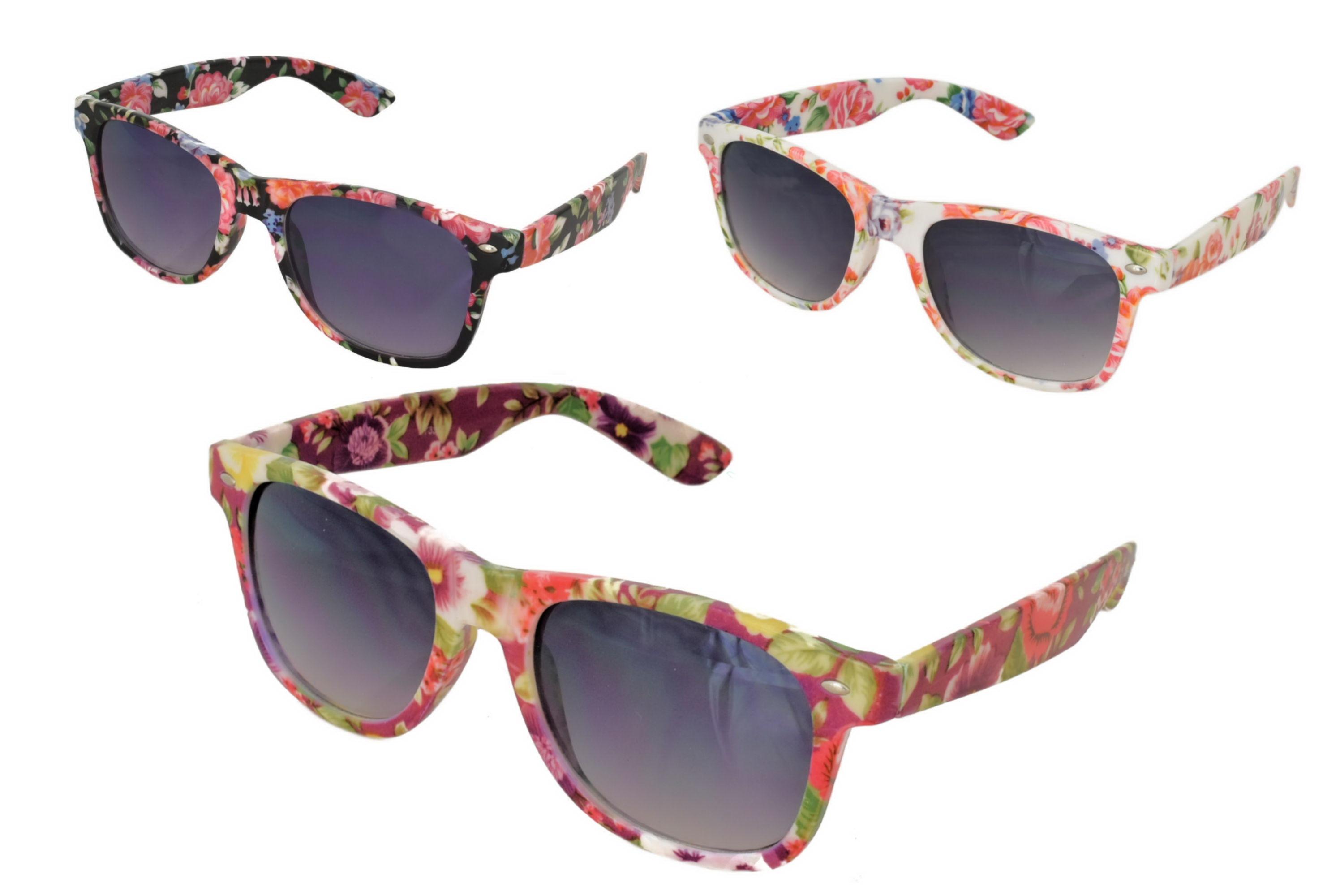 Ladies Plastic Floral Frame Sunglasses - 3 Assorted