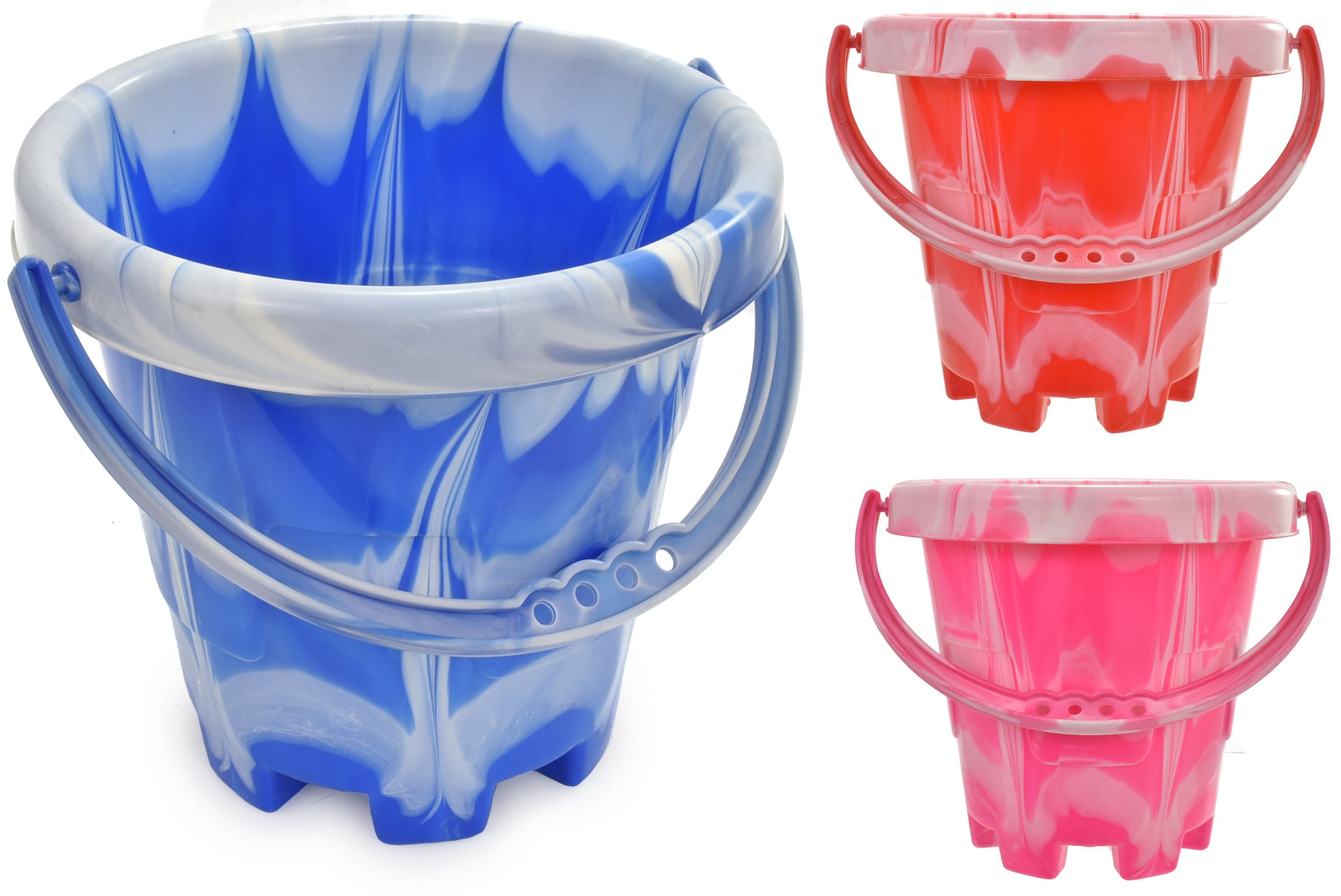 Medium Marble Round Castle Bucket (3 Assorted Colours)