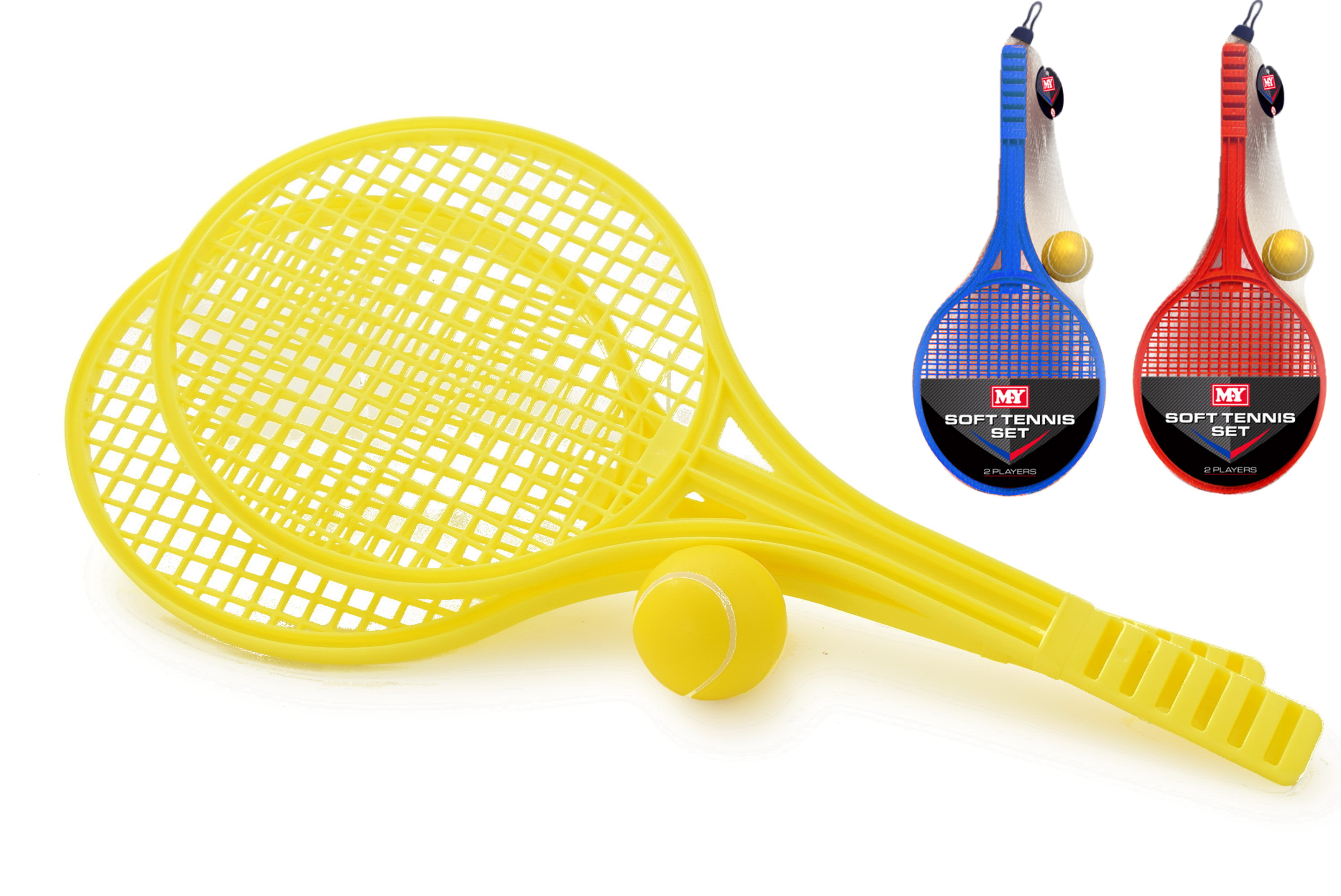 Soft Tennis Set 276gm (3 Assorted Colours) Netted