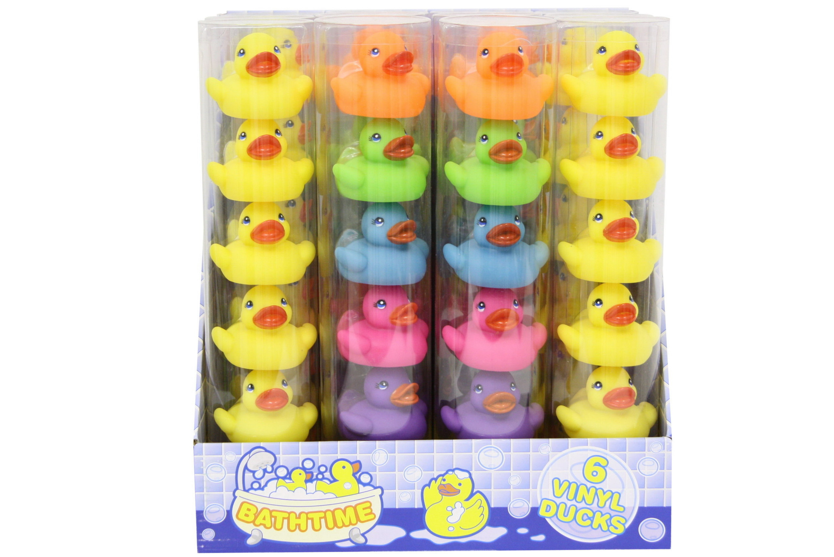 6pc Vinyl Duck In Tube Assorted Colours Pdq Bathtime