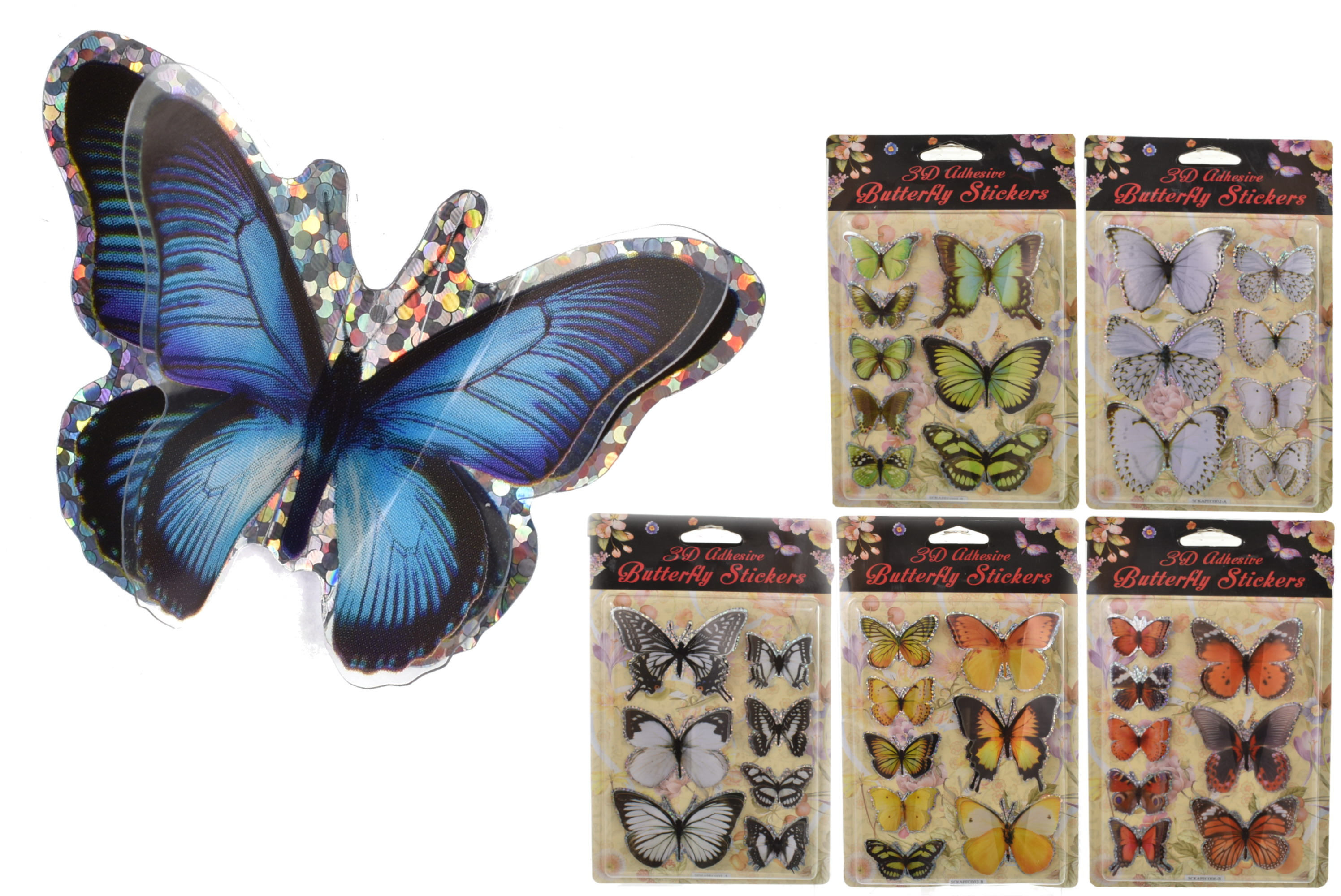 Butterfly Stickers (12 Assorted) - Double Blister