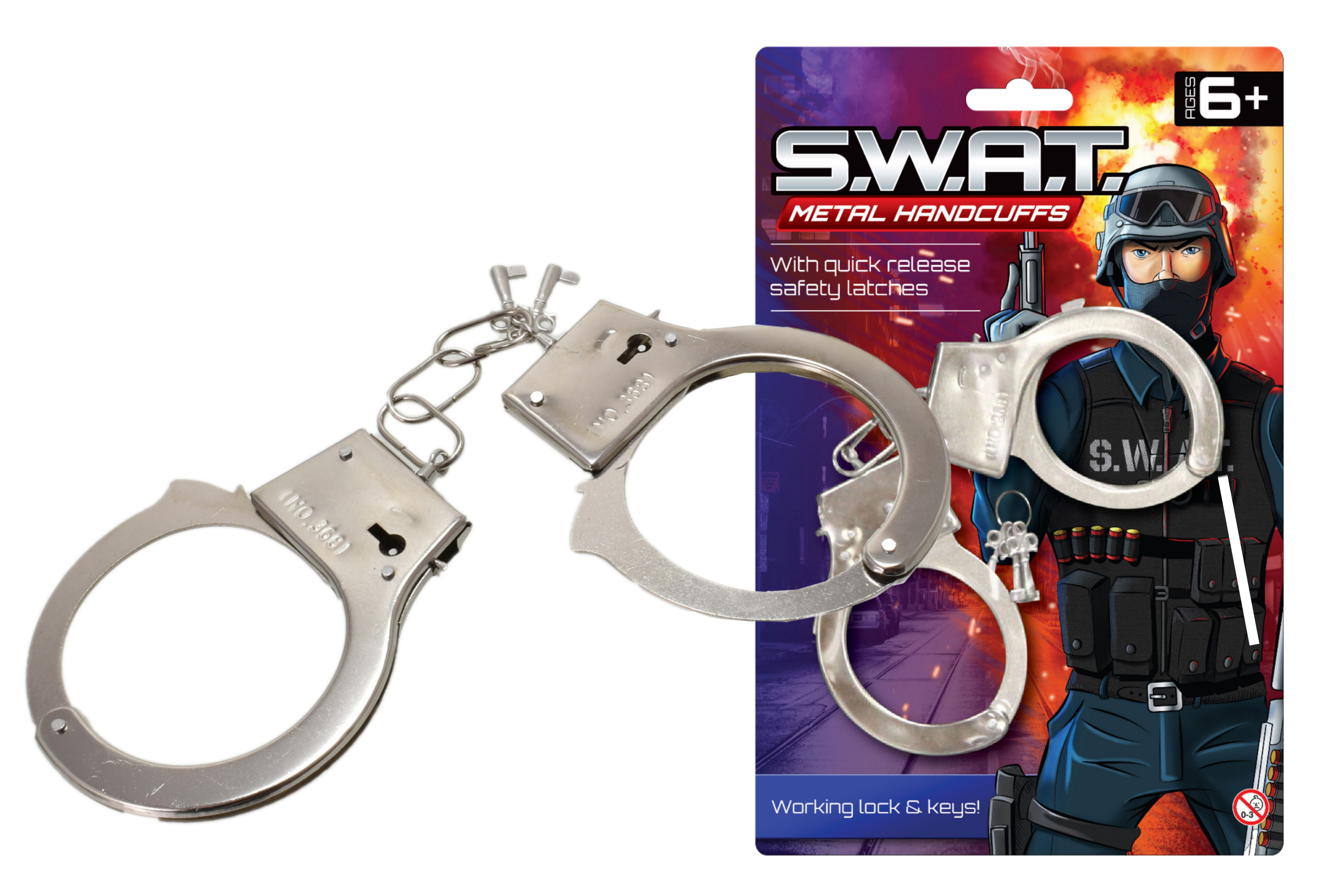 Metal Police Handcuffs - Police Swat (Blistercard)