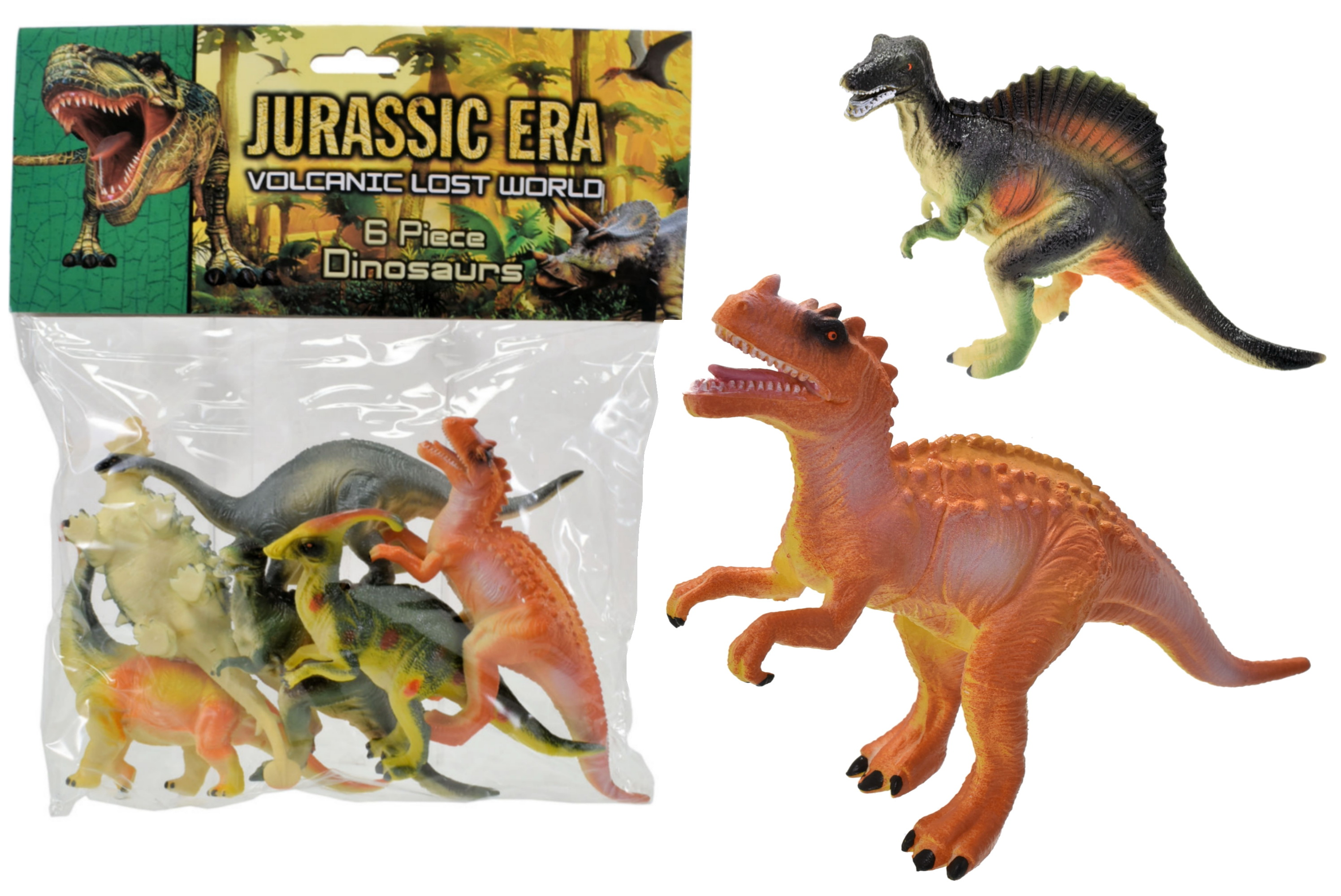 6pc Dinosaurs In Large Bag/Header Card