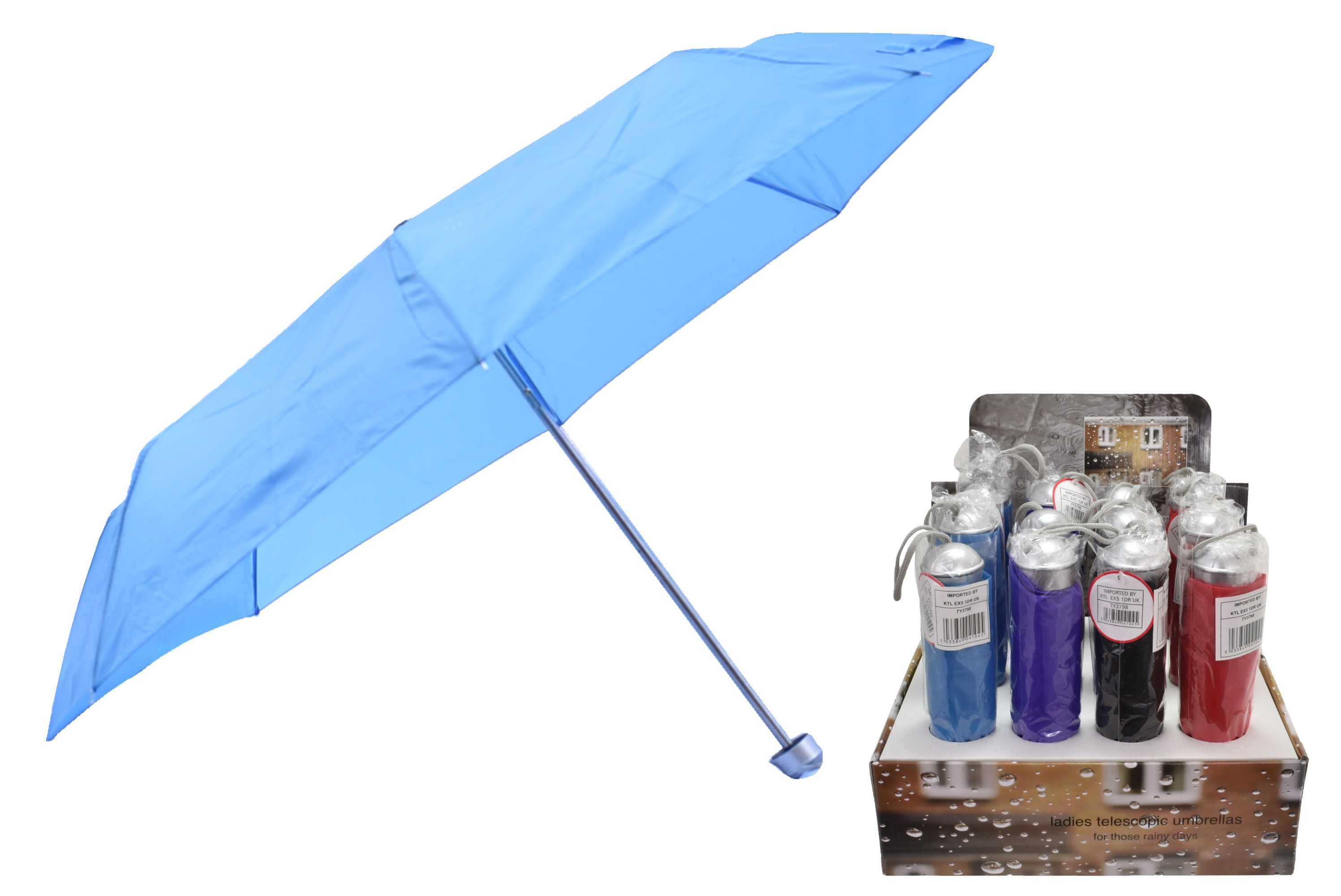 "21""/54cm Rib Ladies Telescopic Umbrella - 4 Asst Col"