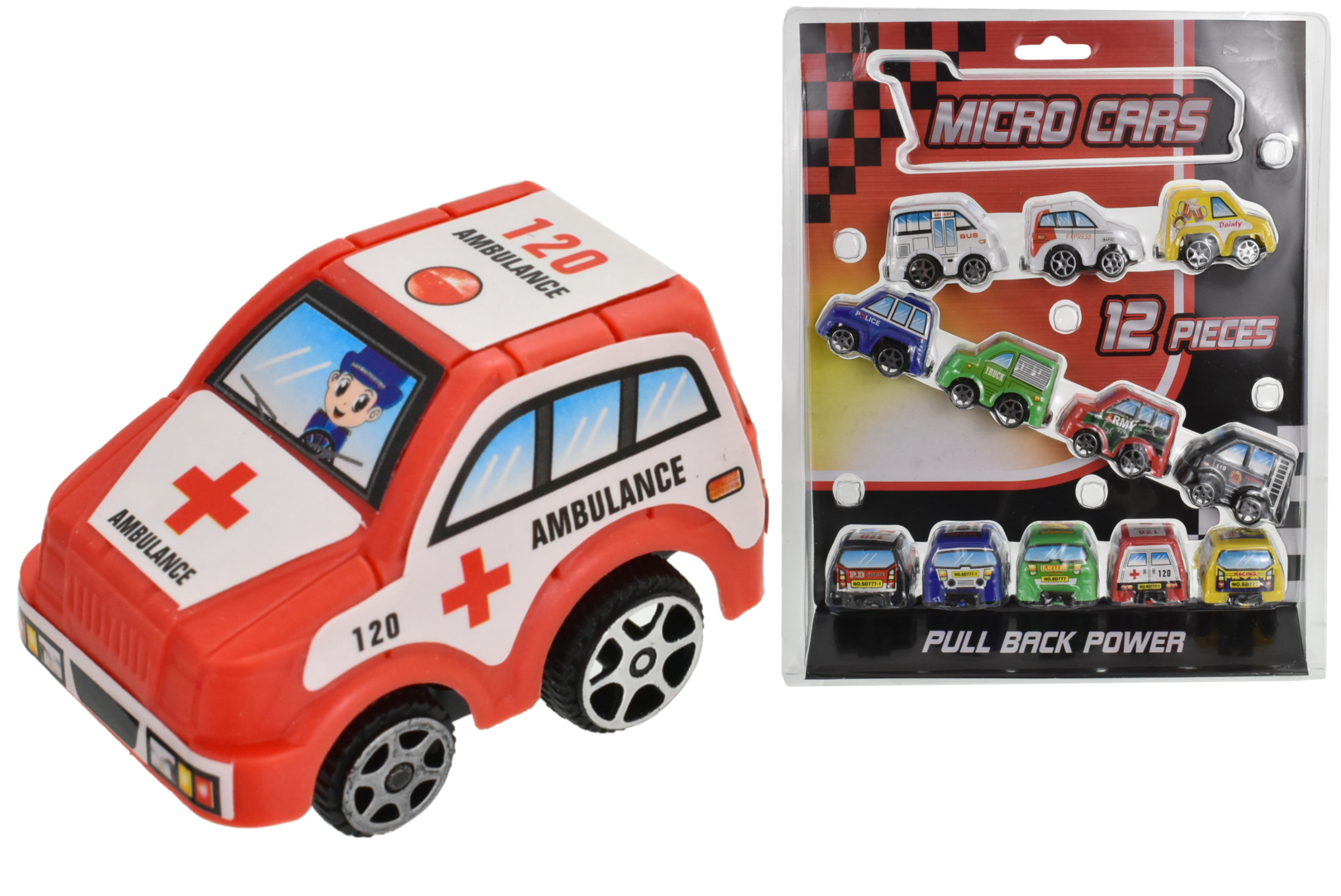 12pc Pull Back Micro Cars - Clamshell - Street Machines